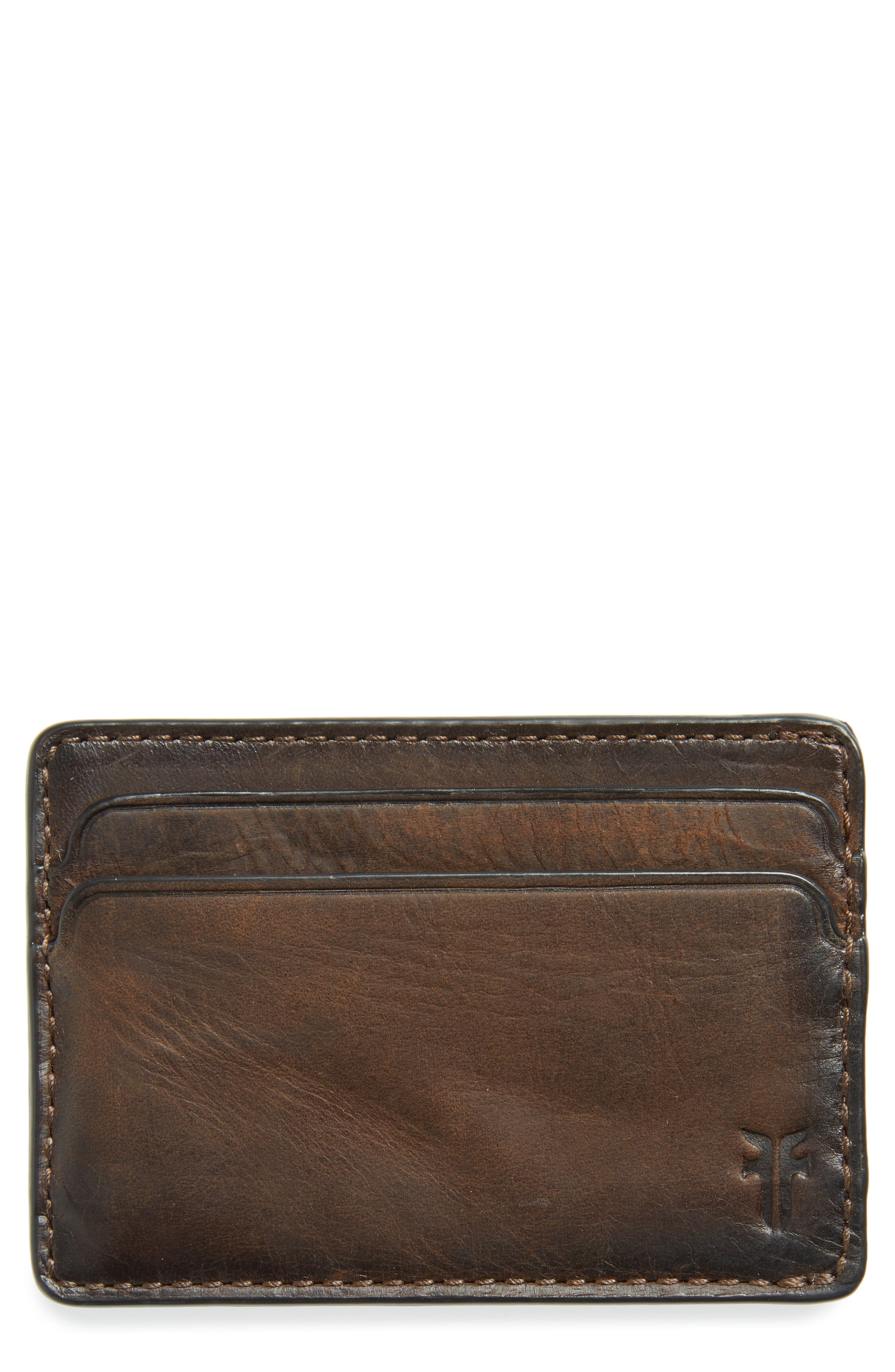 Oliver Leather Card Case,                         Main,                         color, Dark Brown