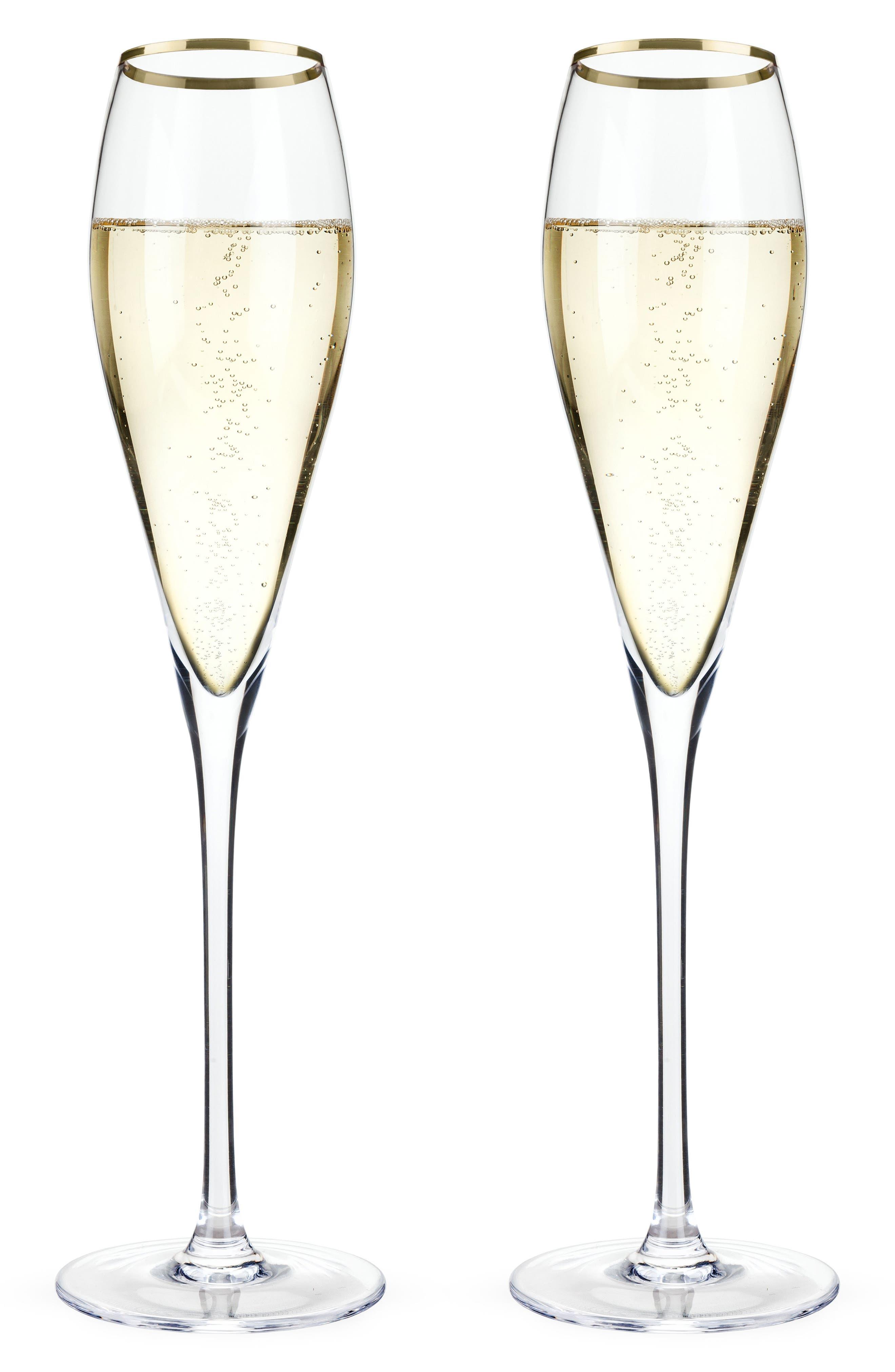 Belmont Set of 2 Gold Rim Champagne Flutes,                             Main thumbnail 1, color,                             White