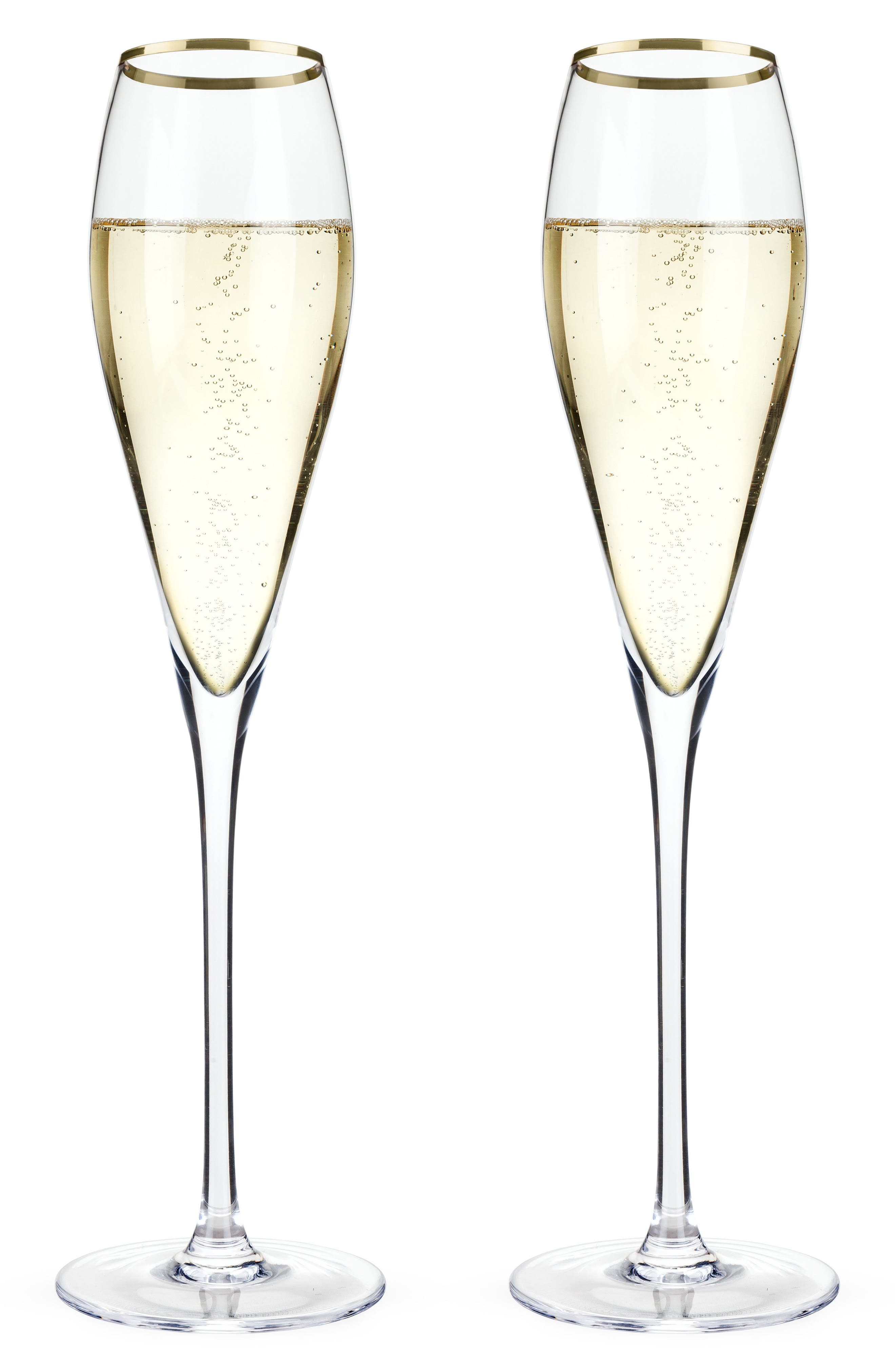 Belmont Set of 2 Gold Rim Champagne Flutes,                         Main,                         color, White