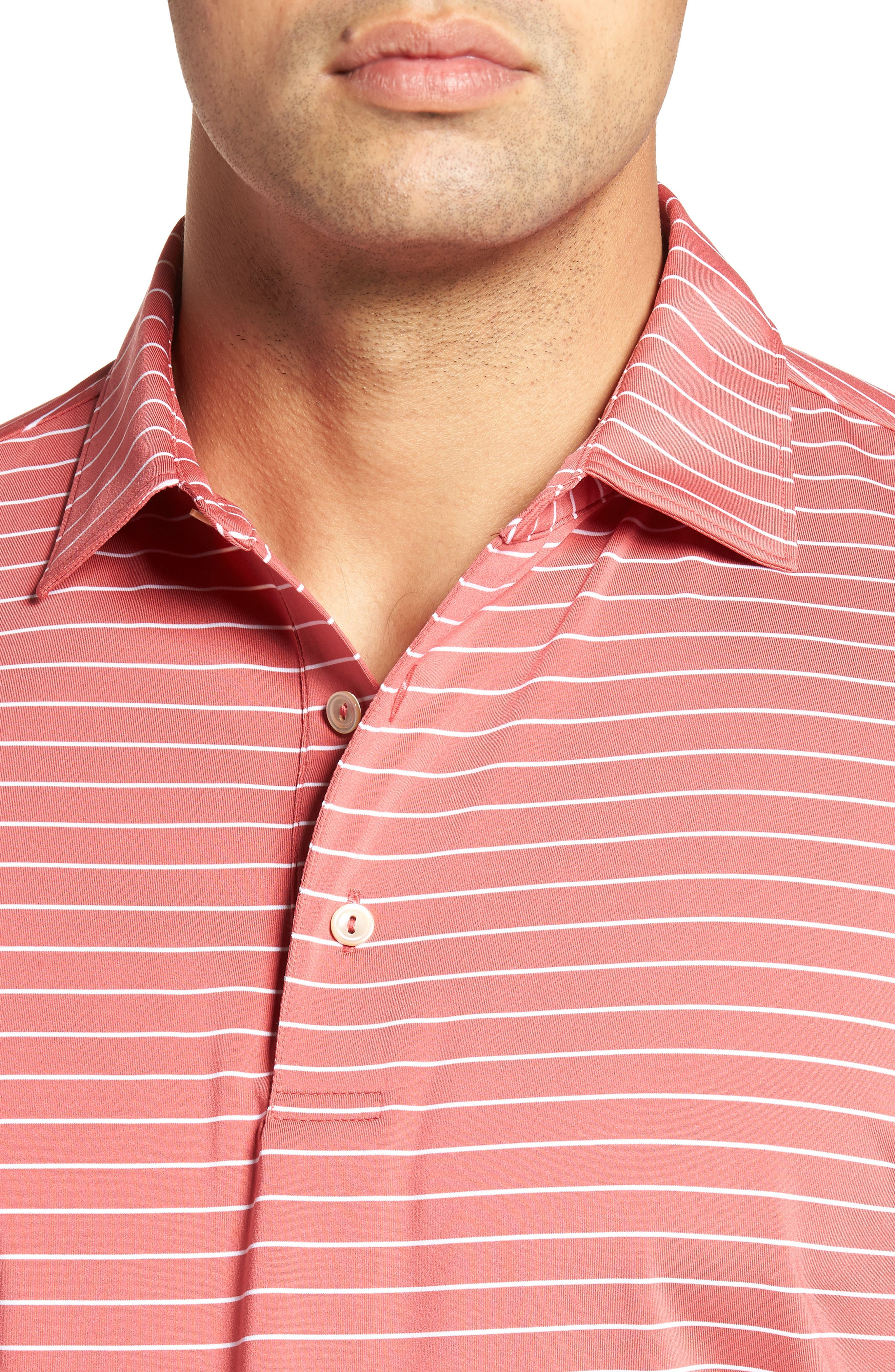 Halifax Pinstripe Stretch Jersey Polo,                             Alternate thumbnail 4, color,                             Cape Red