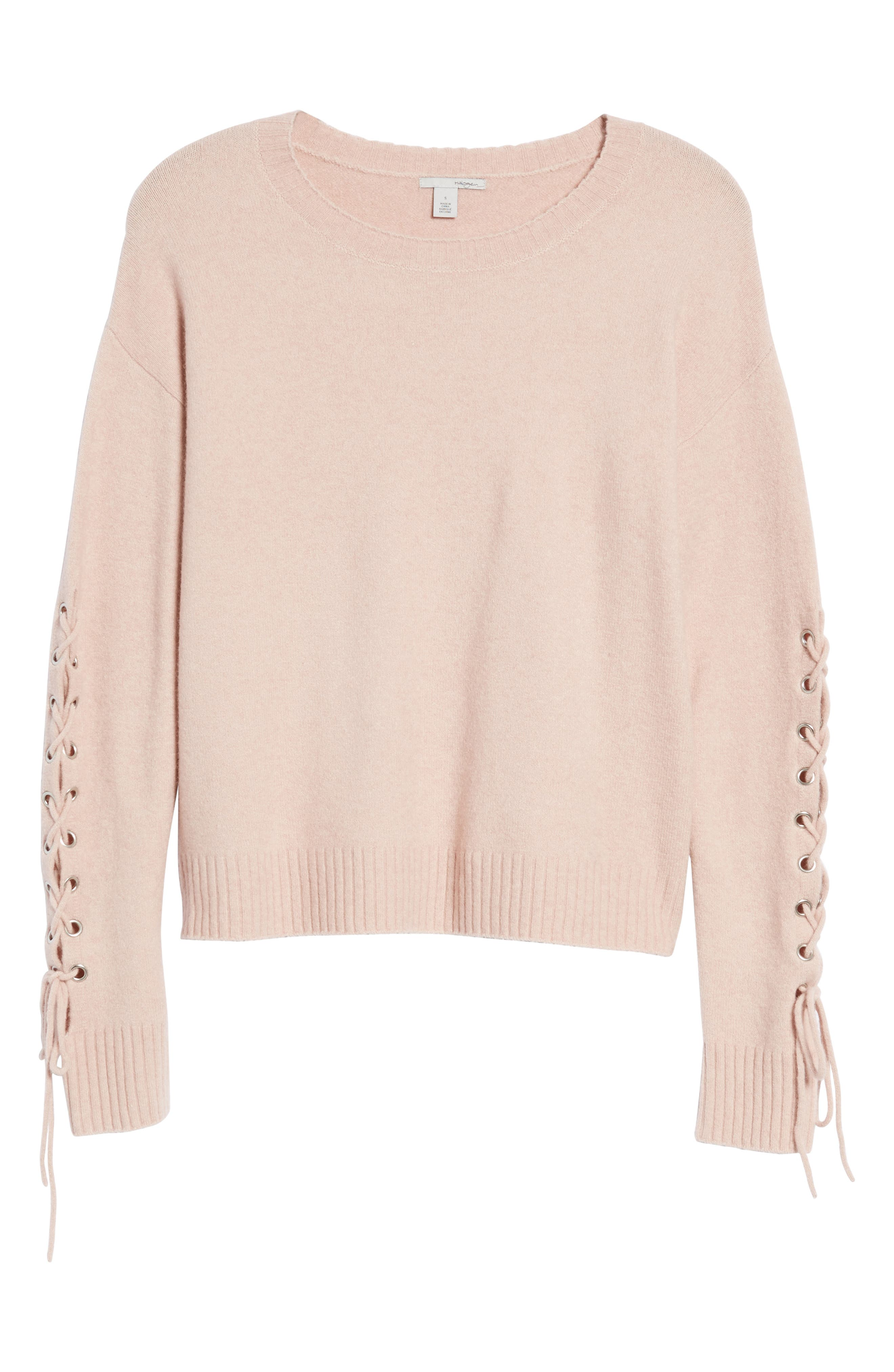 Lace-Up Sleeve Sweater,                             Alternate thumbnail 6, color,                             Pink Adobe