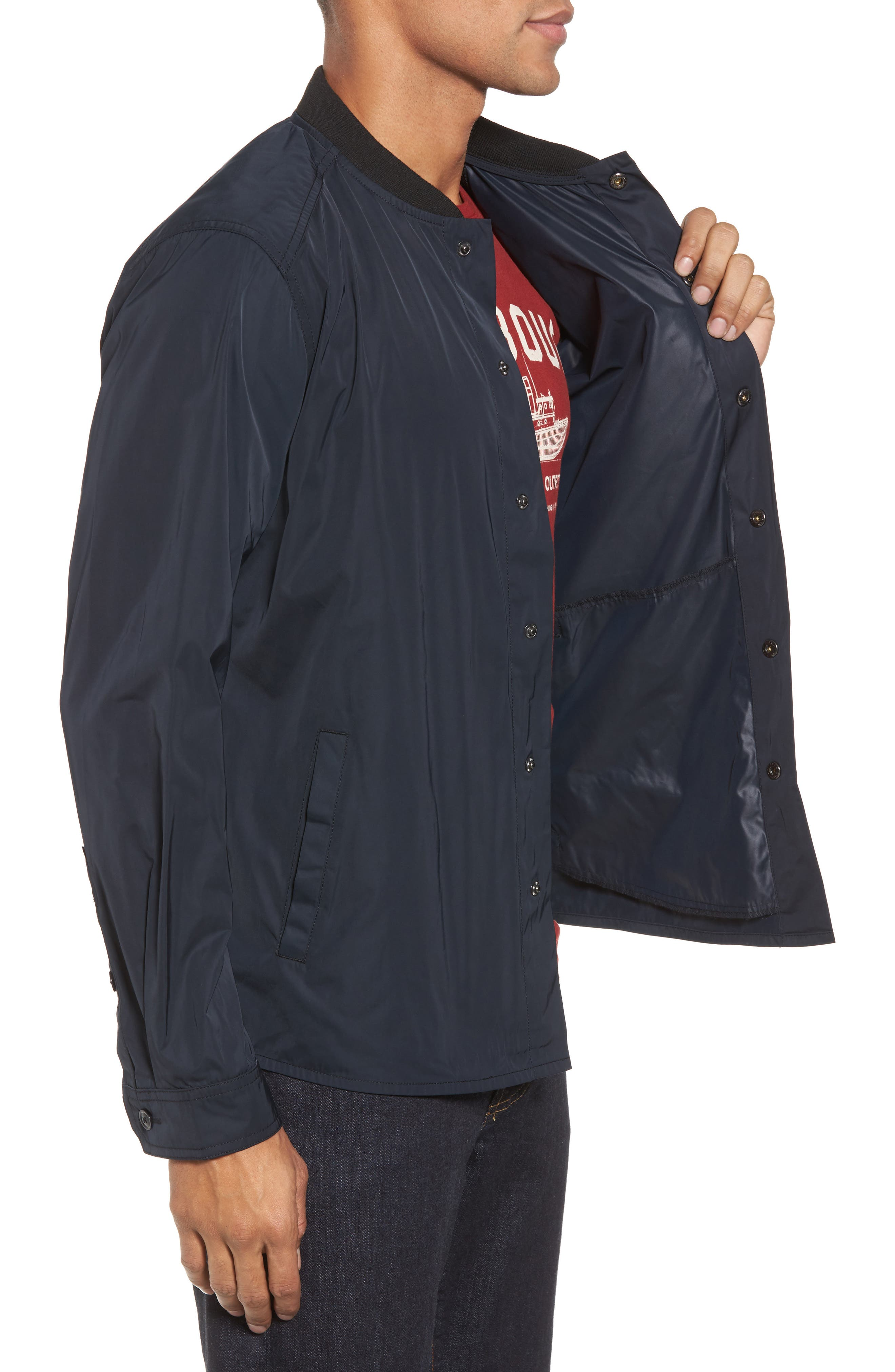 International Snap Front Overshirt,                             Alternate thumbnail 3, color,                             Black