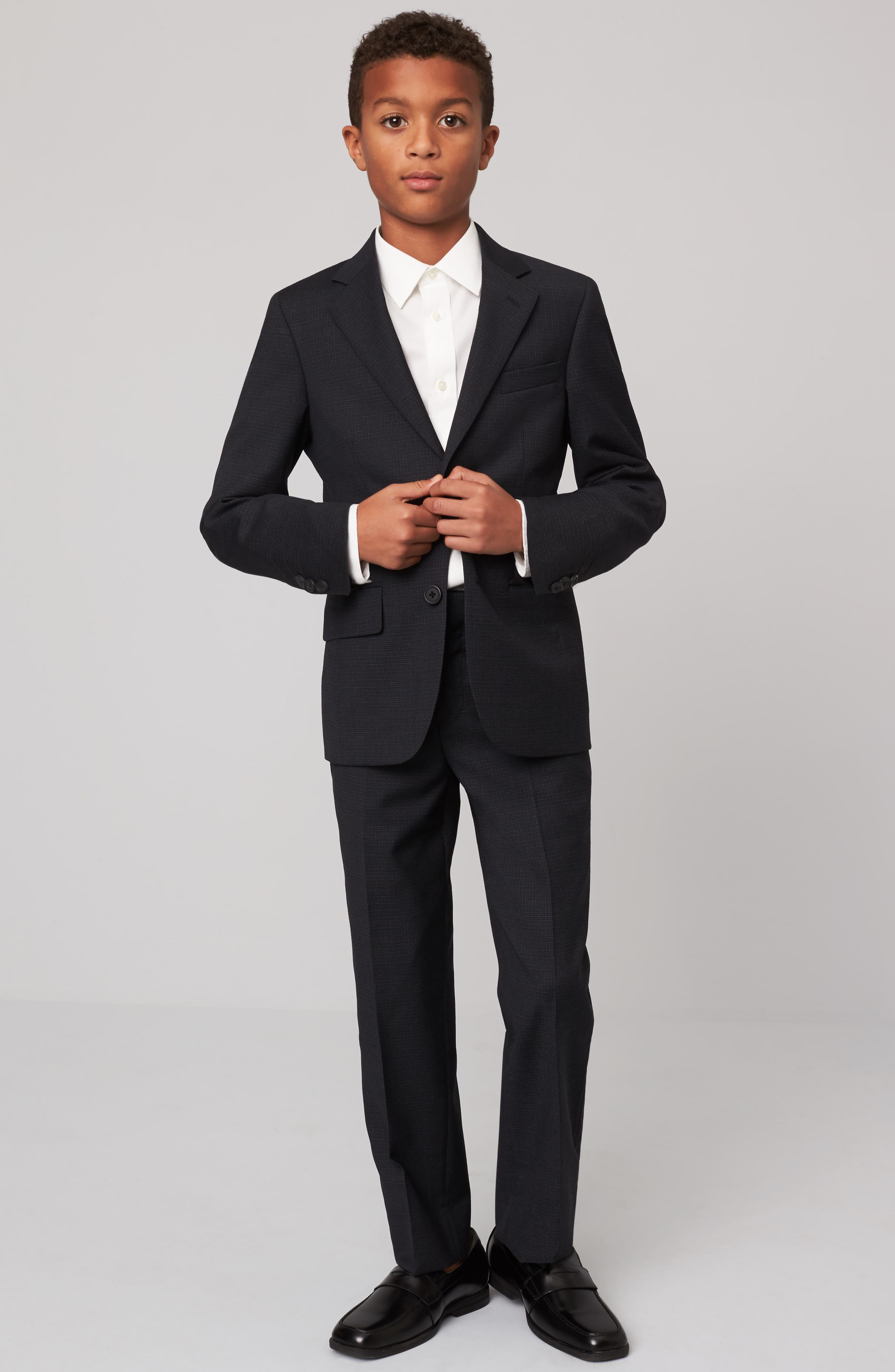 Micro Check Wool Suit,                             Alternate thumbnail 2, color,                             Grey