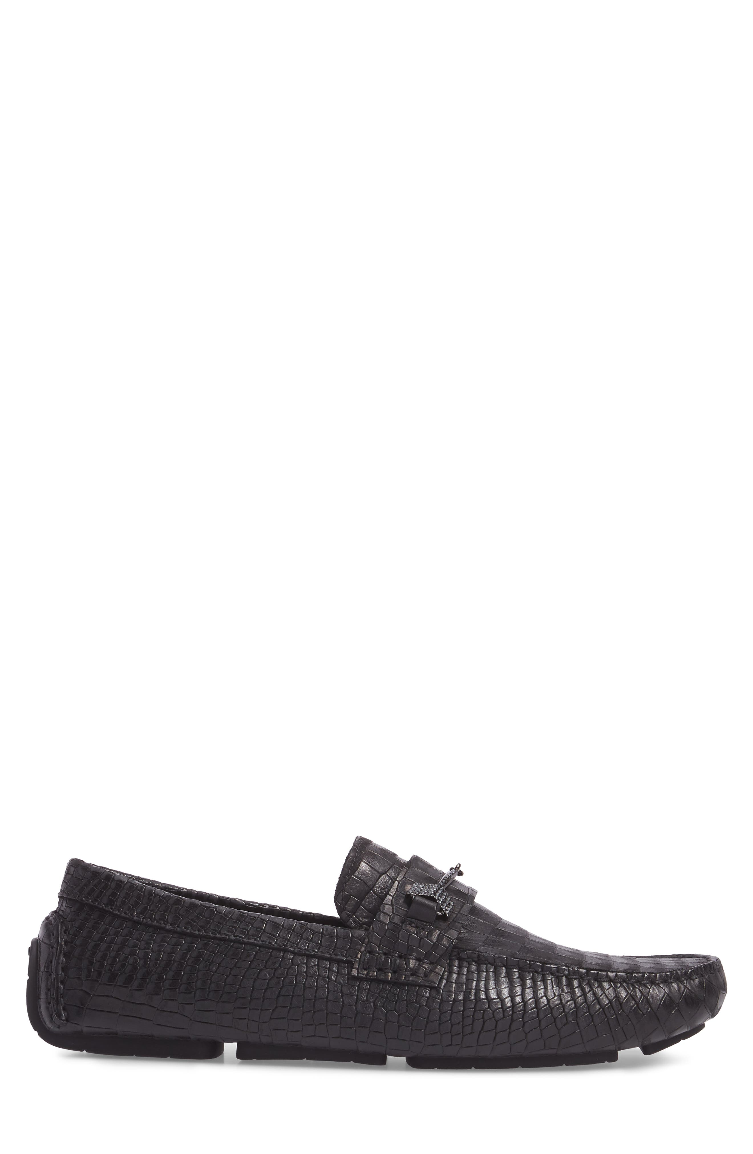Brewer Croc Textured Driving Loafer,                             Alternate thumbnail 3, color,                             Black