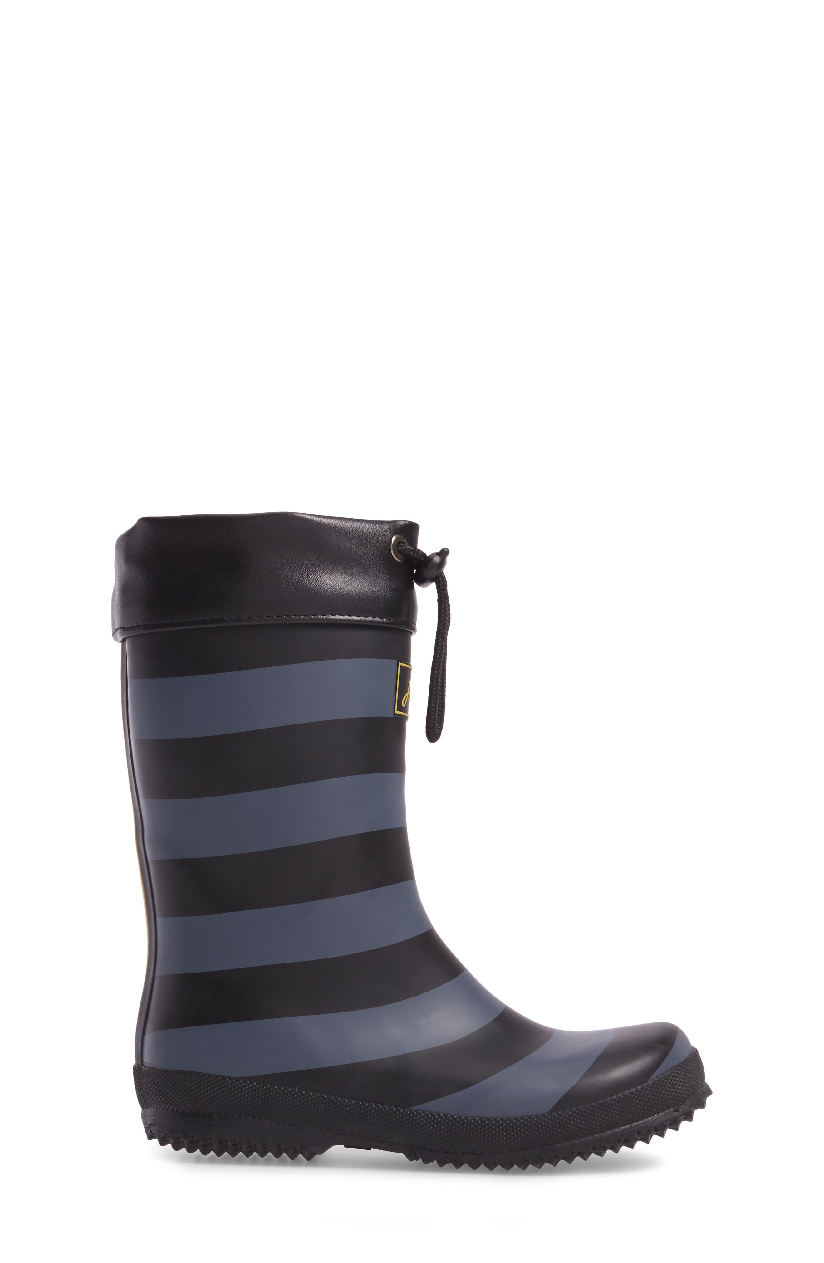 Winter Waterproof Rain Boot,                             Alternate thumbnail 3, color,                             Black Stripe