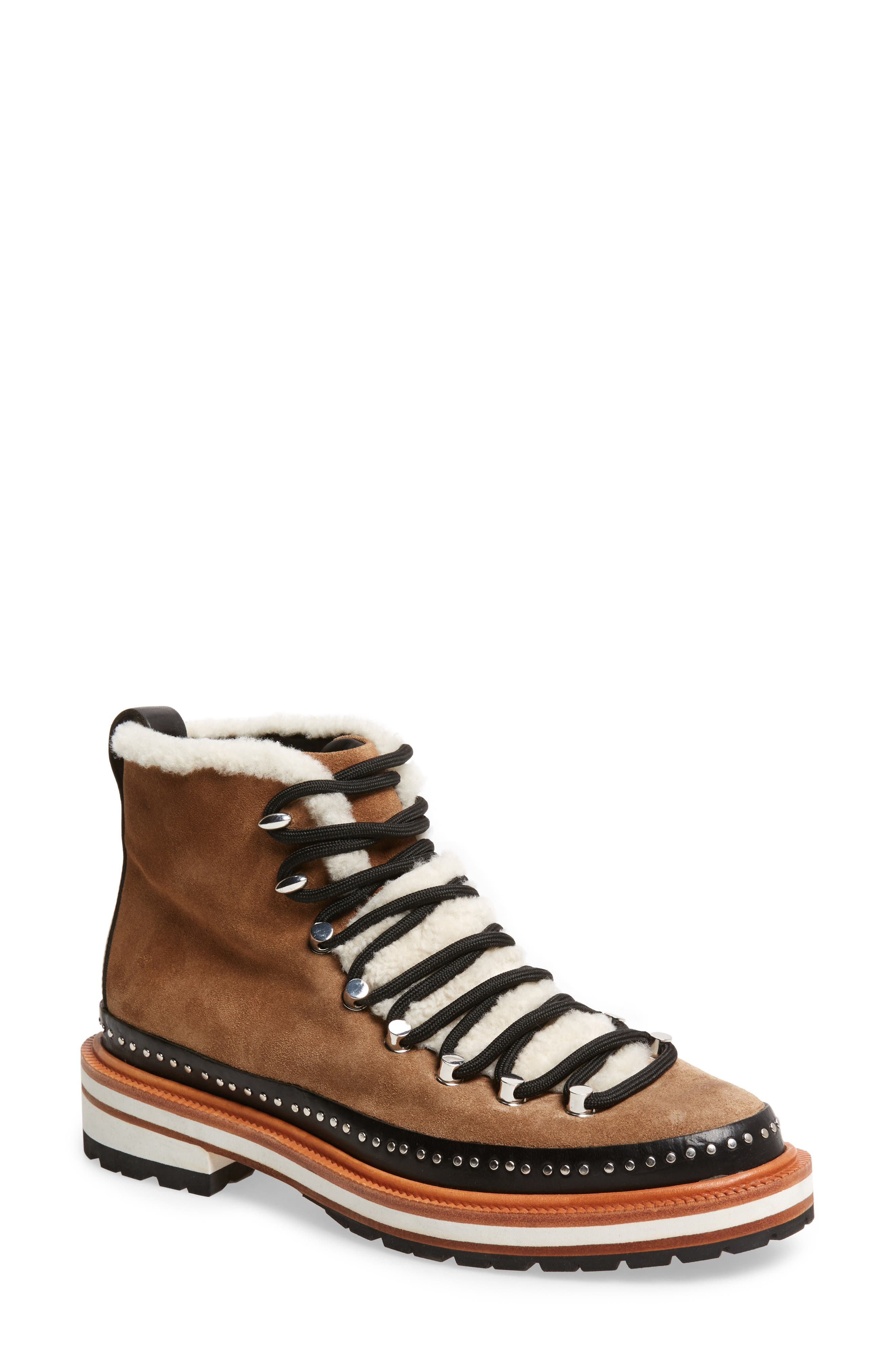 Compass Genuine Shearling Combat Boot,                             Main thumbnail 1, color,                             Camel