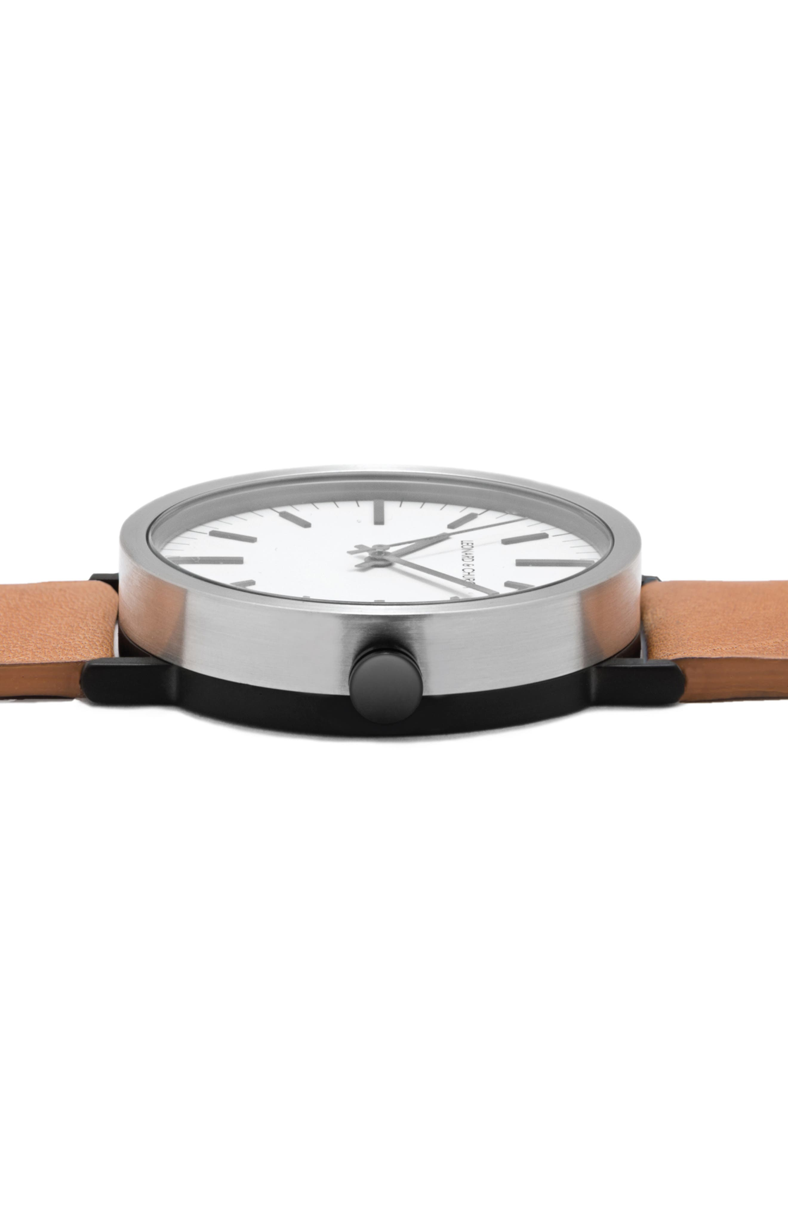Leonard & Church Thompson Leather Strap Watch, 40mm,                             Alternate thumbnail 3, color,                             Chestnut/ White/ Black