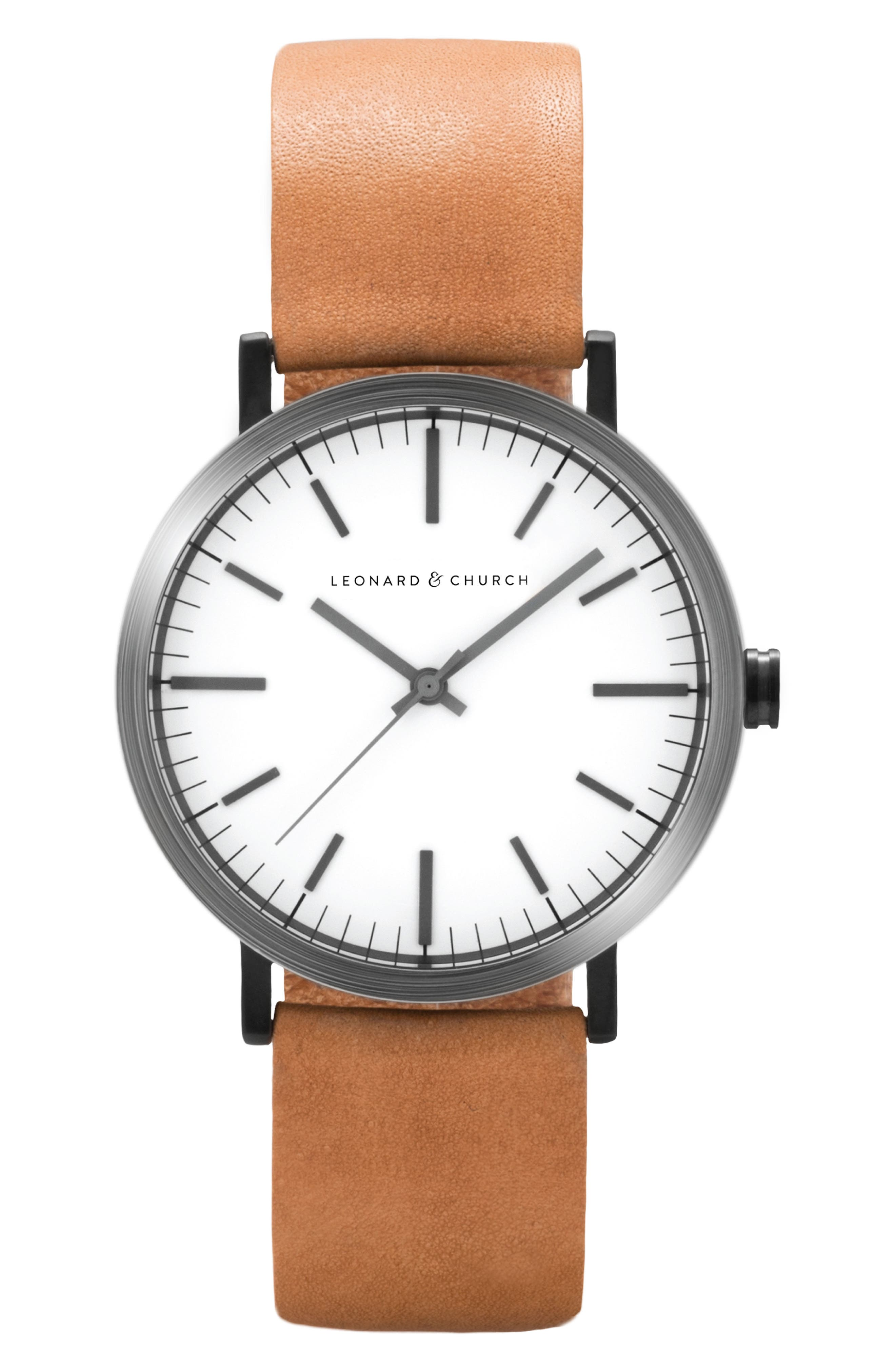 Leonard & Church Thompson Leather Strap Watch, 40mm,                         Main,                         color, Chestnut/ White/ Black