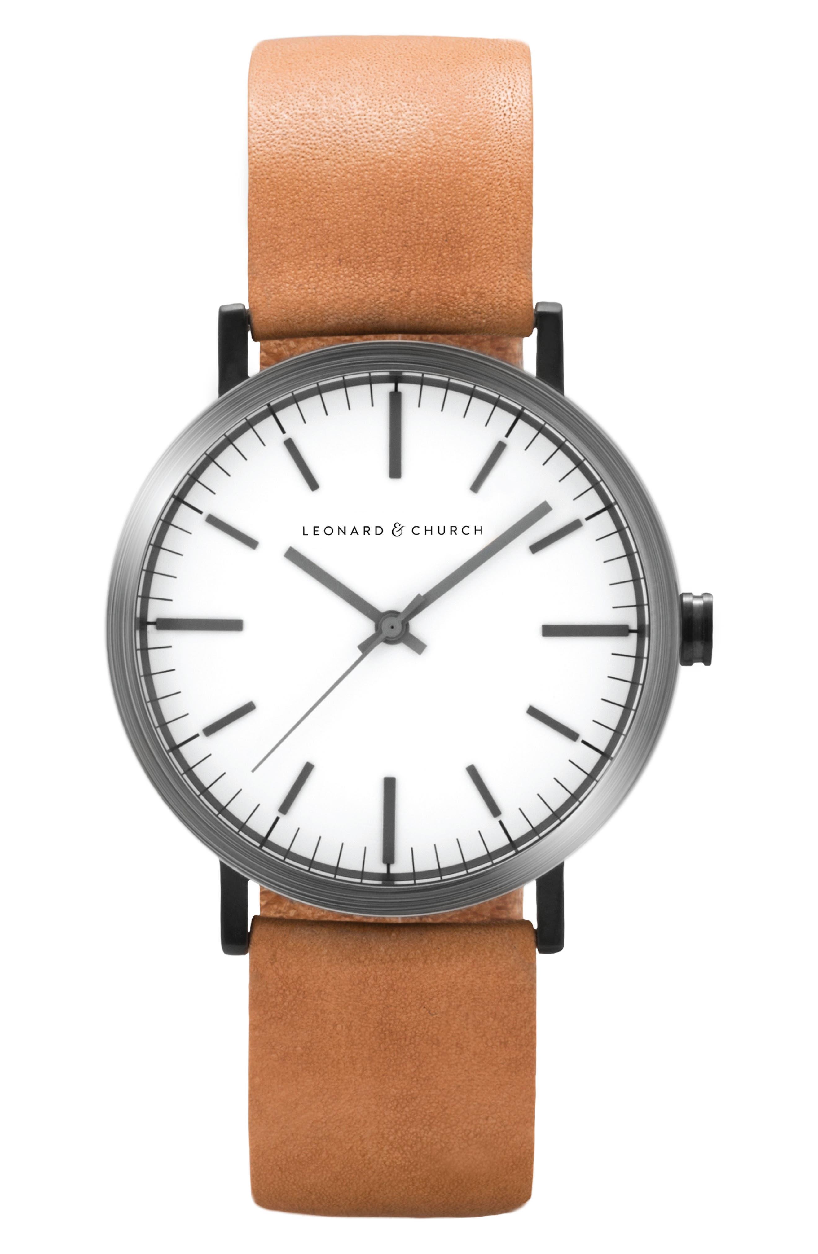 Leonard & Church Thompson Leather Strap Watch, 40mm,                         Main,                         color, Chestnut/ White/ Black