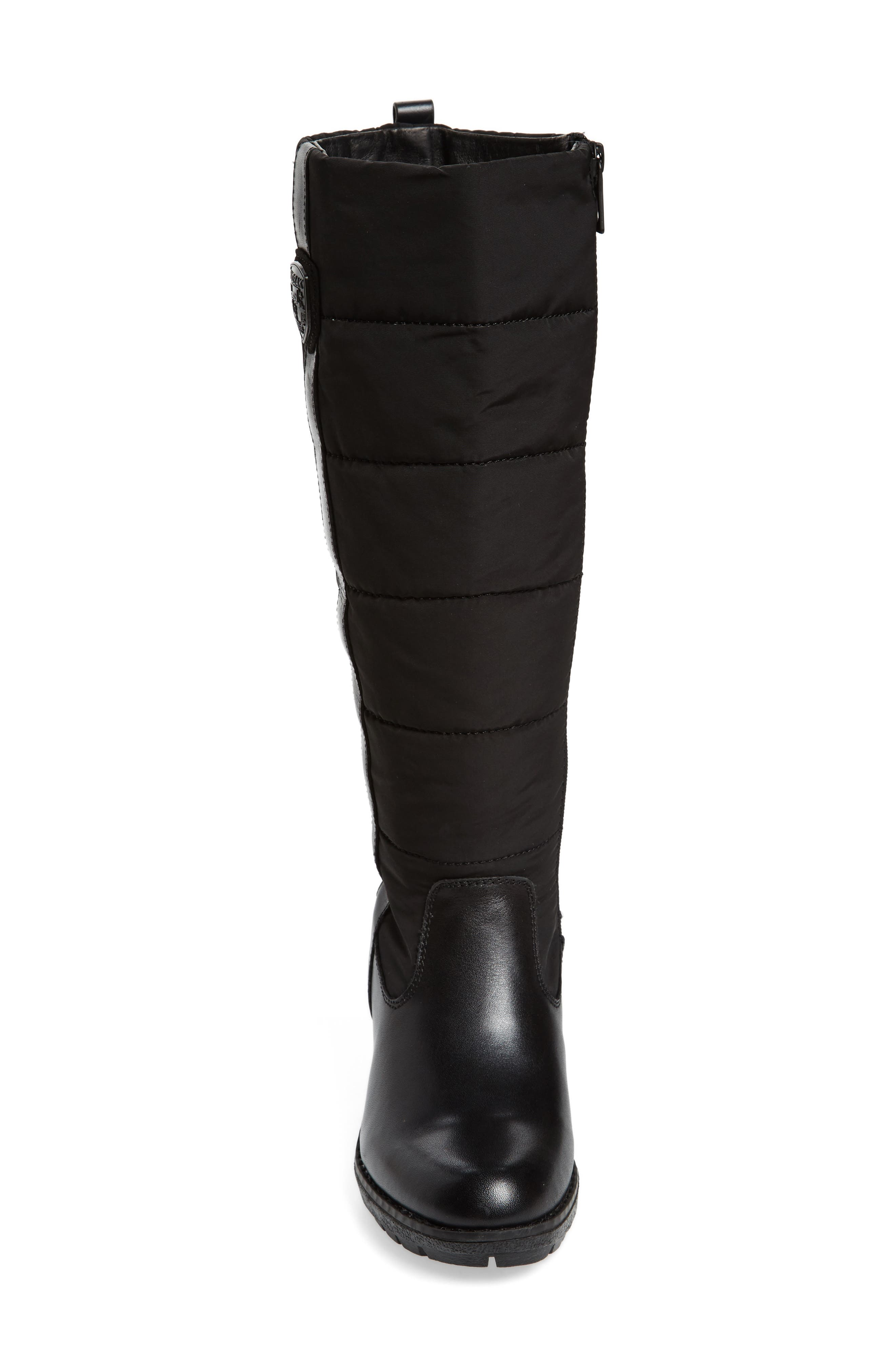 Bethany Water Resistant Boot,                             Alternate thumbnail 4, color,                             Black Leather