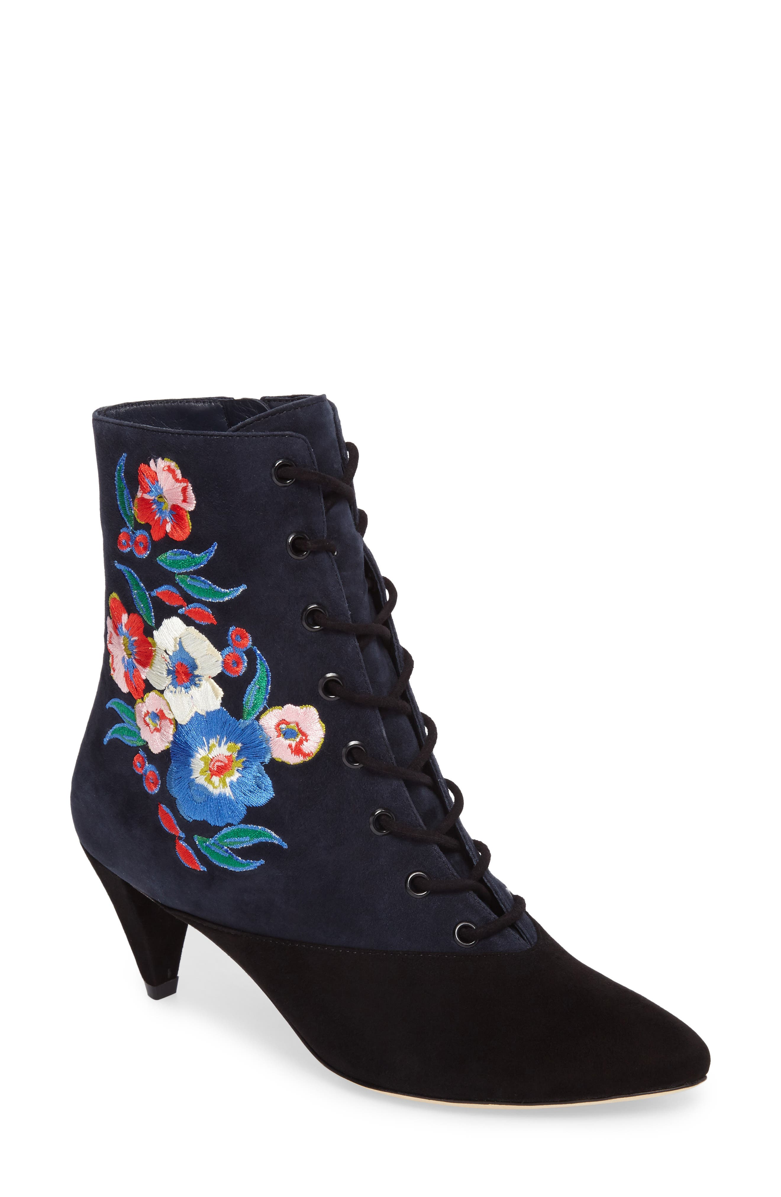 Tory Burch Cassidy Floral Embroidery Pointy Toe Boot (Women)