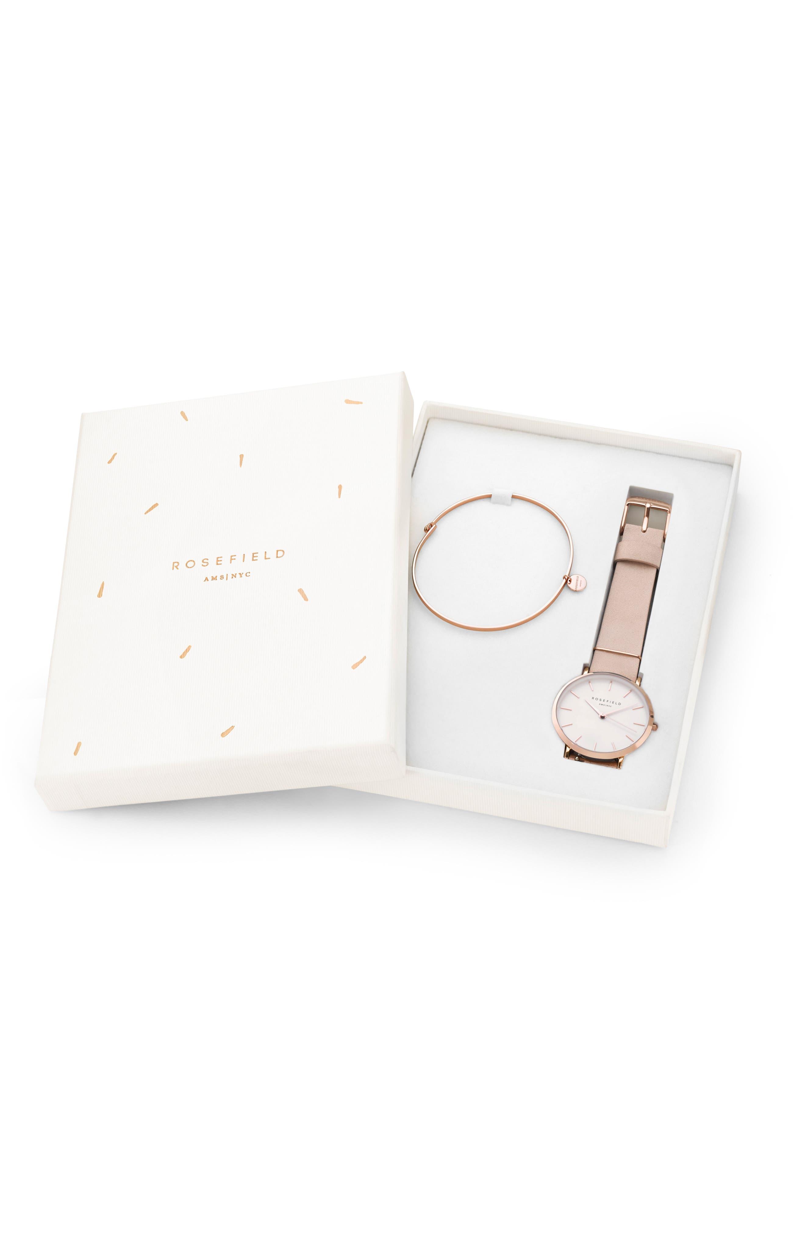 Holiday Leather Strap Watch & Bracelet Gift Set, 33mm,                             Alternate thumbnail 6, color,                             Pink/ Rose Gold