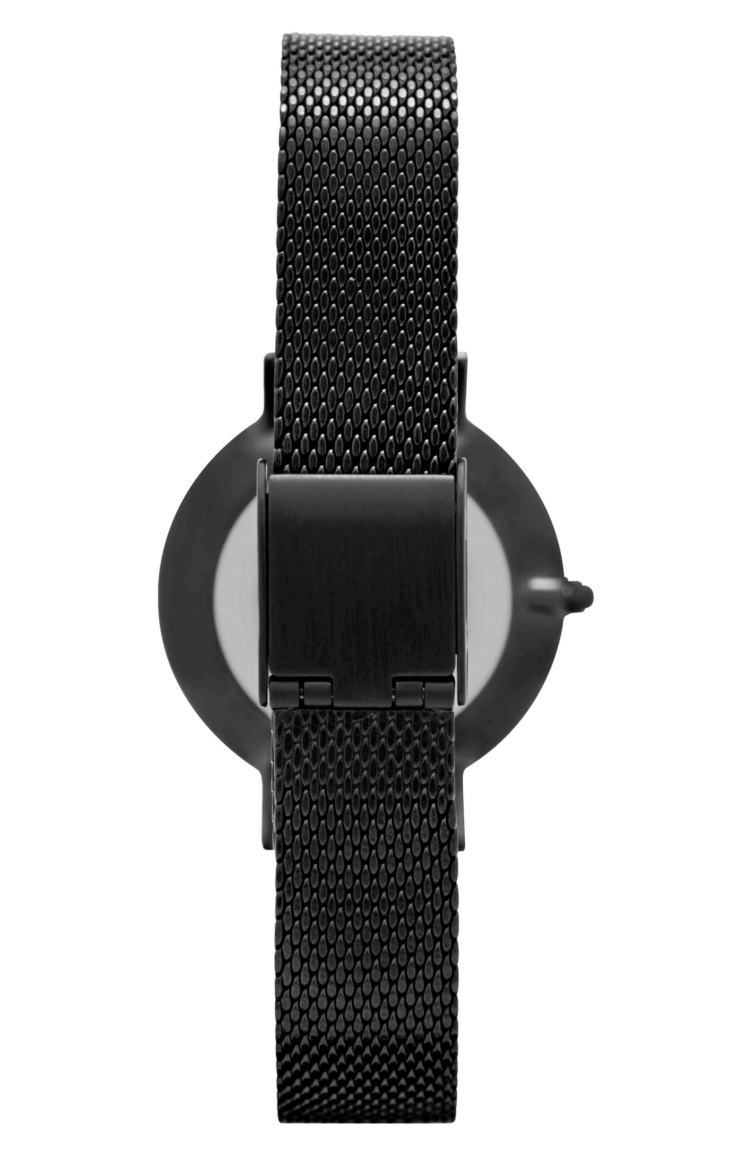 Leonard & Church Mercer Mesh Strap Watch, 30mm,                             Alternate thumbnail 4, color,                             Black
