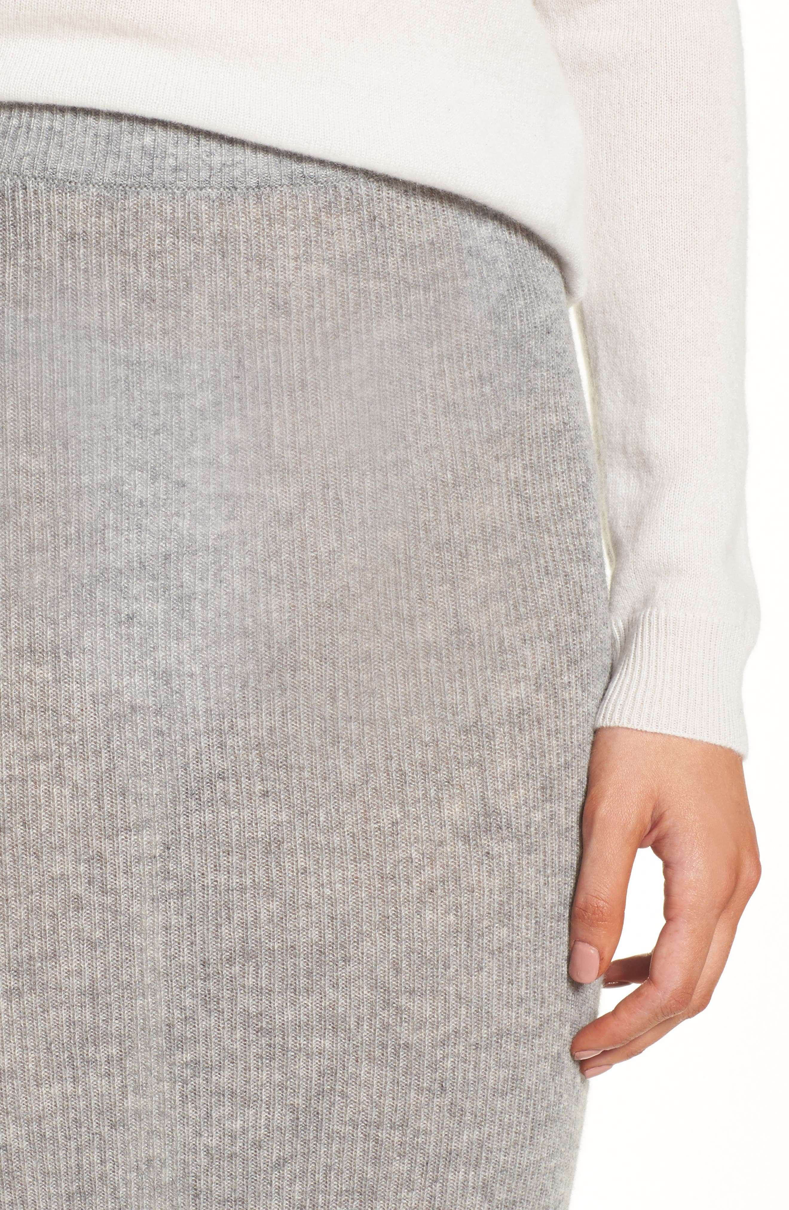 Cashmere Skirt,                             Alternate thumbnail 4, color,                             Heather Grey