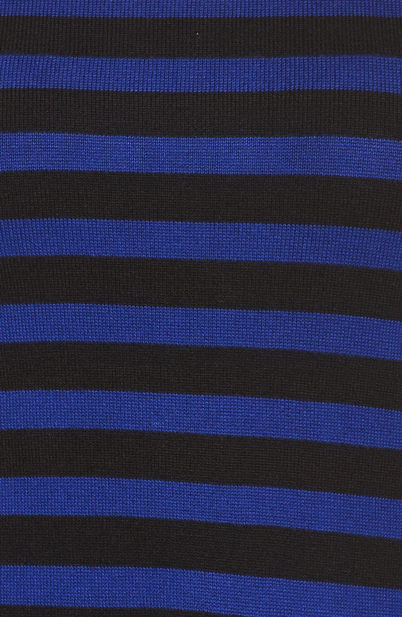Stripe Sweater Fit & Flare Dress,                             Alternate thumbnail 5, color,                             Black