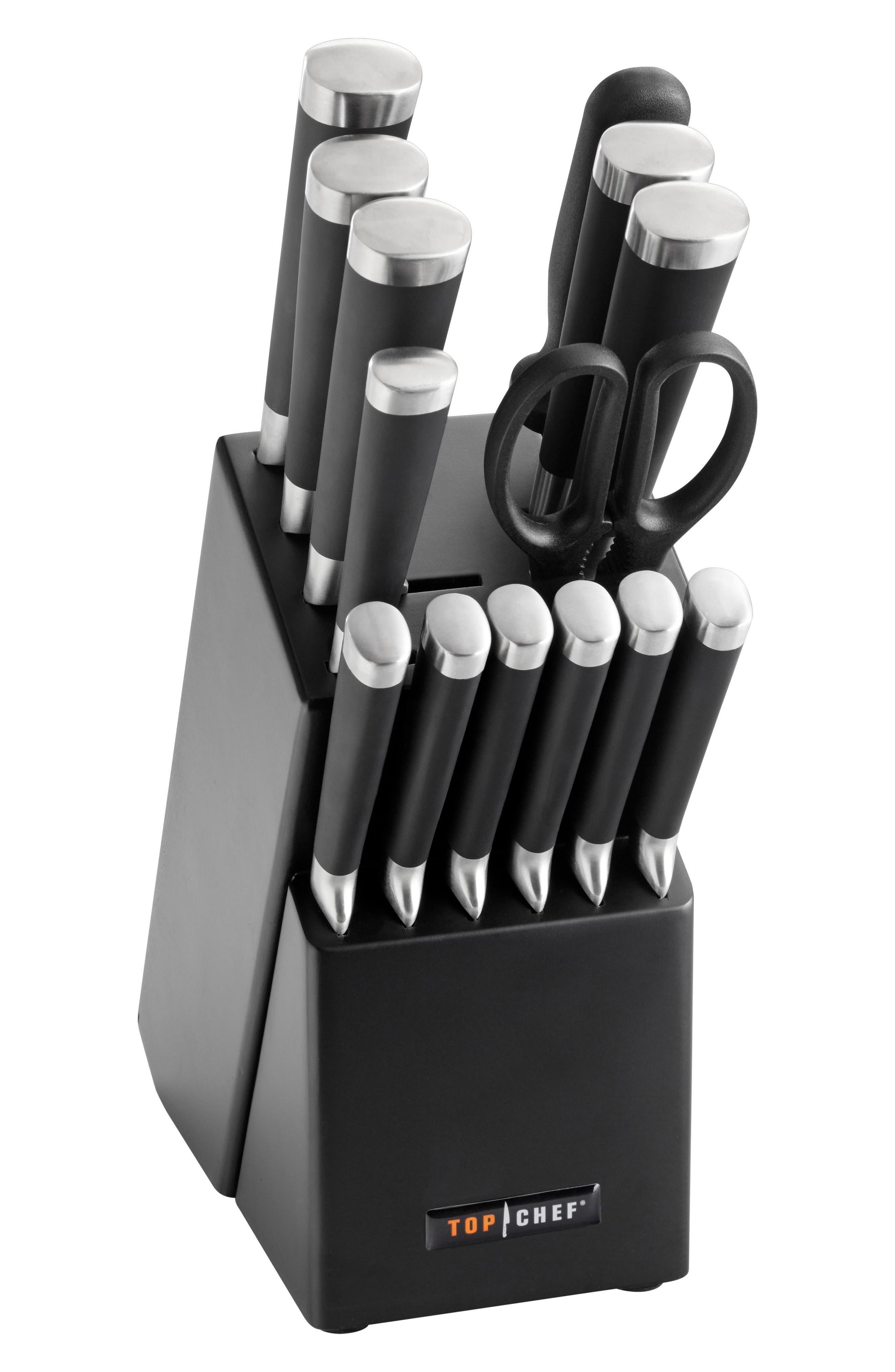 Samurai 15-Piece Knife Block Set,                             Main thumbnail 1, color,                             Black