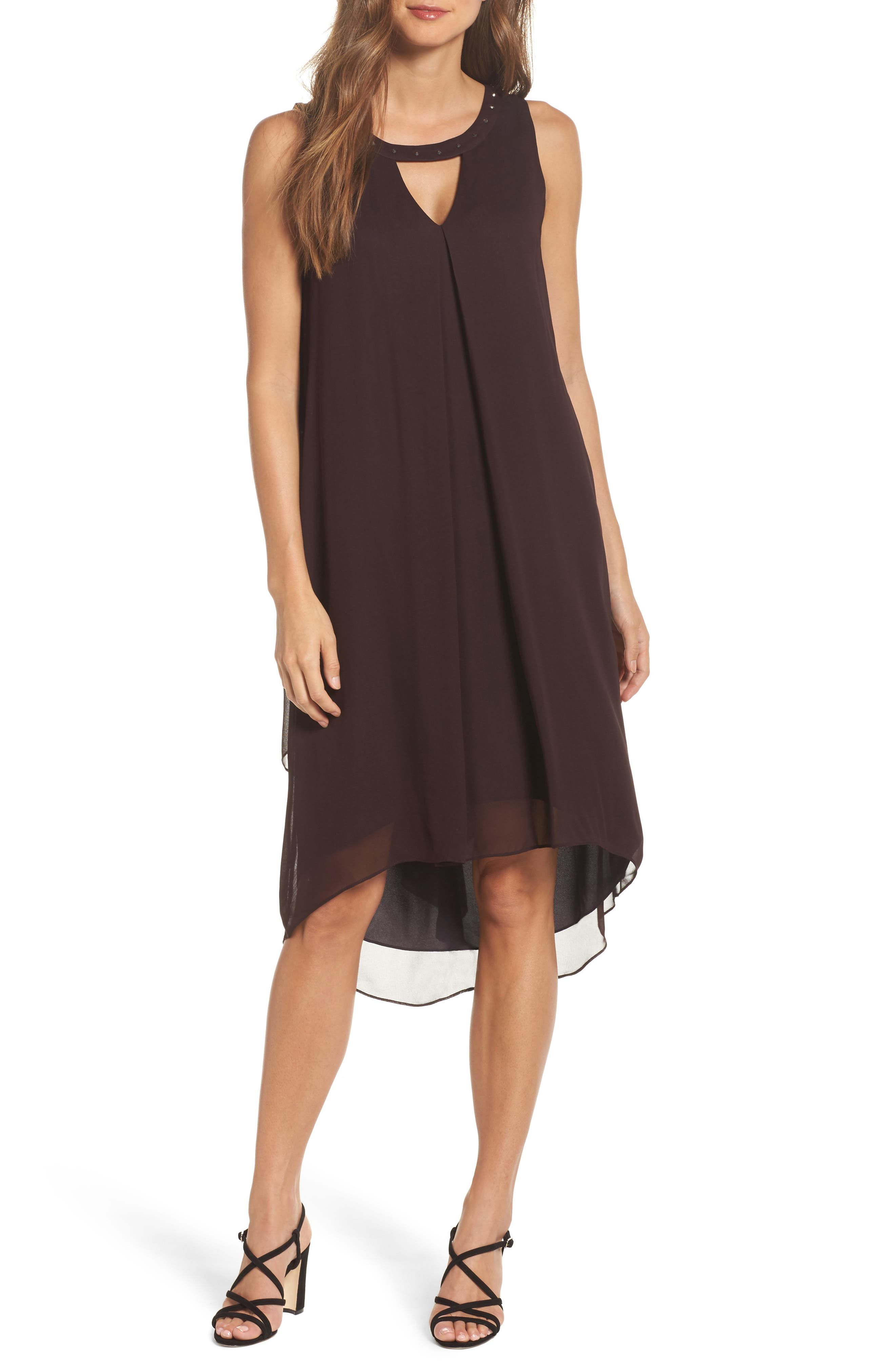 Keyhole High/Low Dress,                         Main,                         color, Black Dahlia