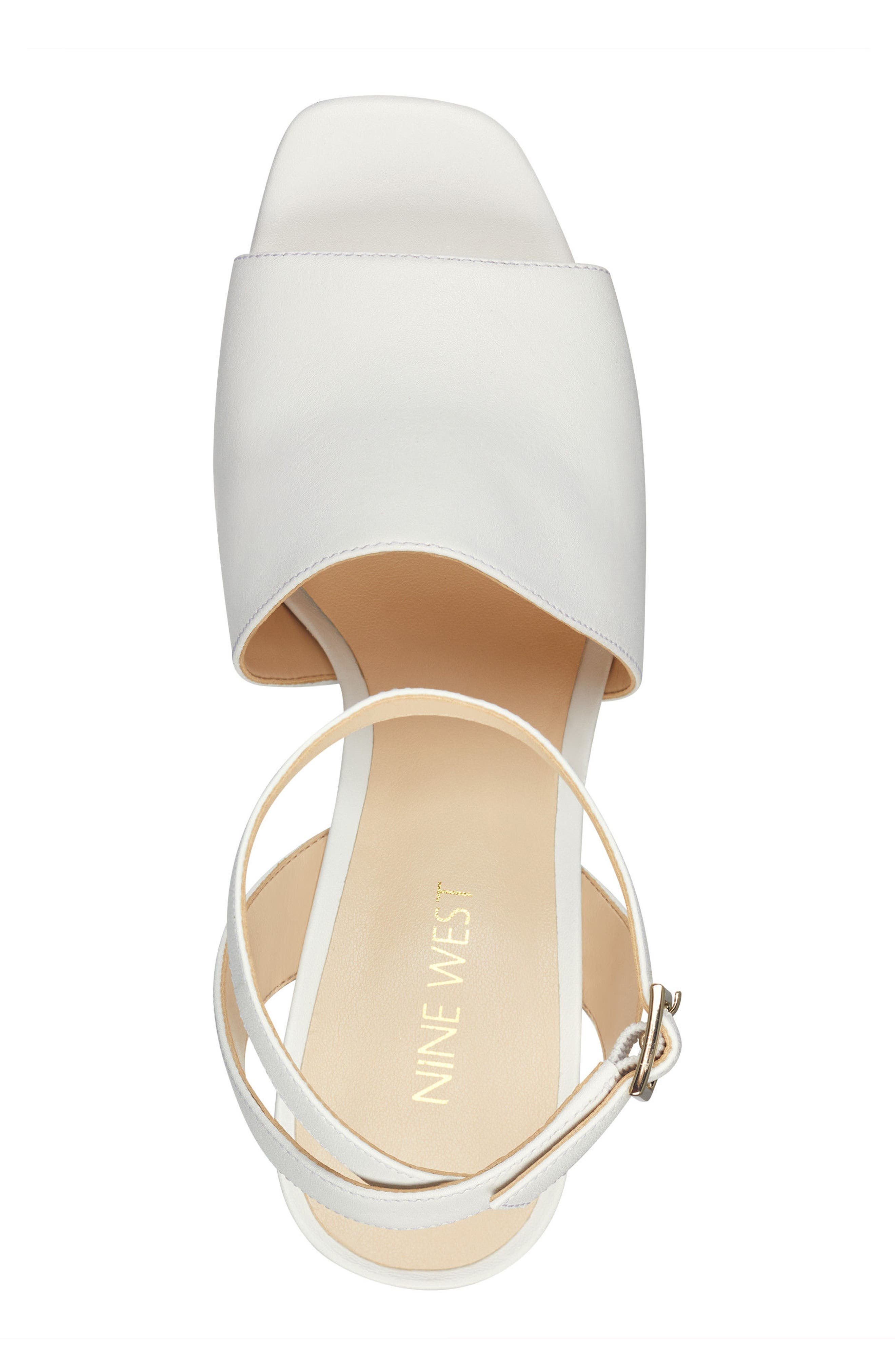 Quilty Ankle Strap Sandal,                             Alternate thumbnail 5, color,                             White Leather