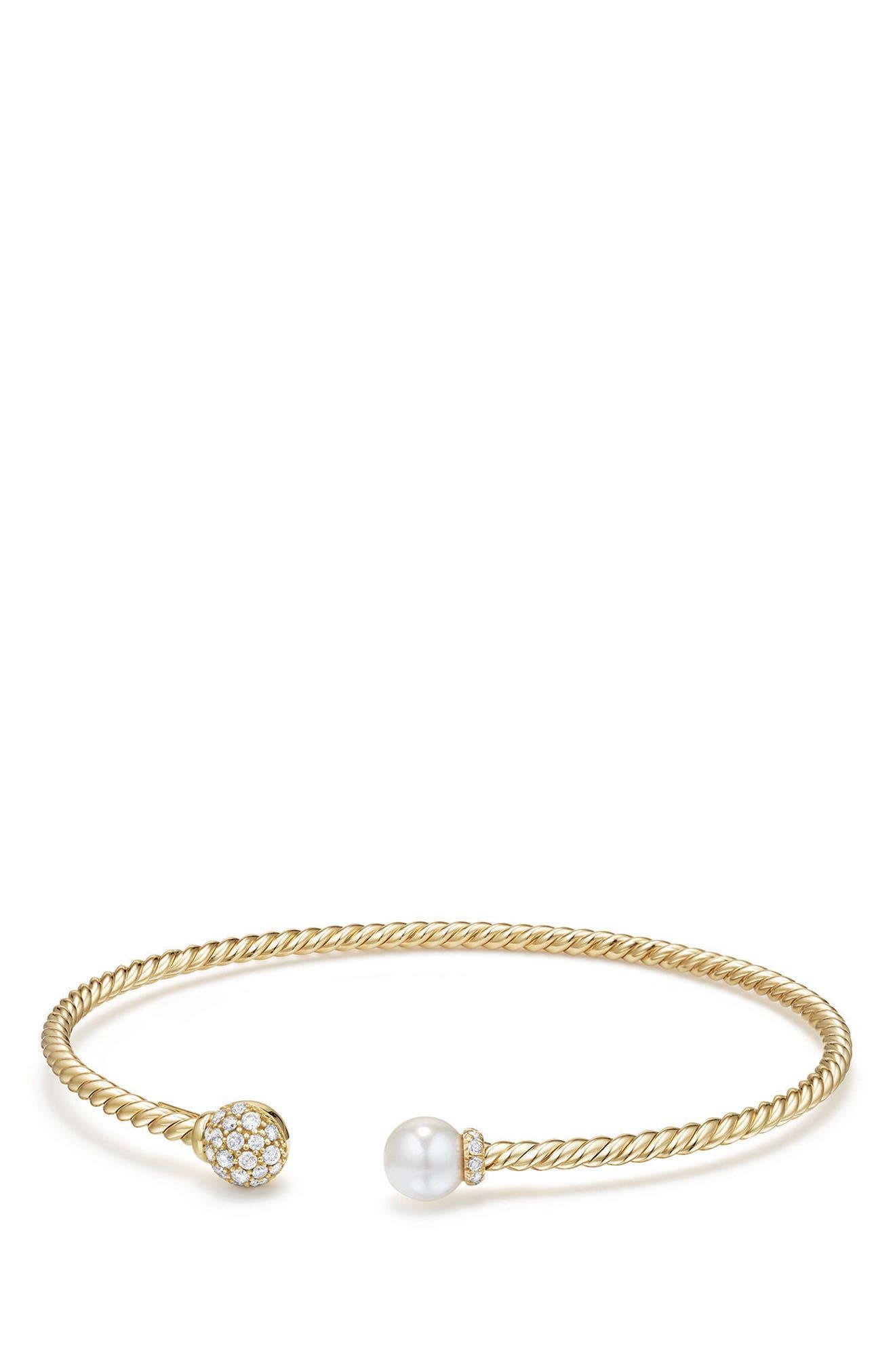 Solari Bead & Pearl Bracelet with Diamonds in 18K Gold,                             Main thumbnail 1, color,                             Yellow Gold/ Diamond/ Pearl