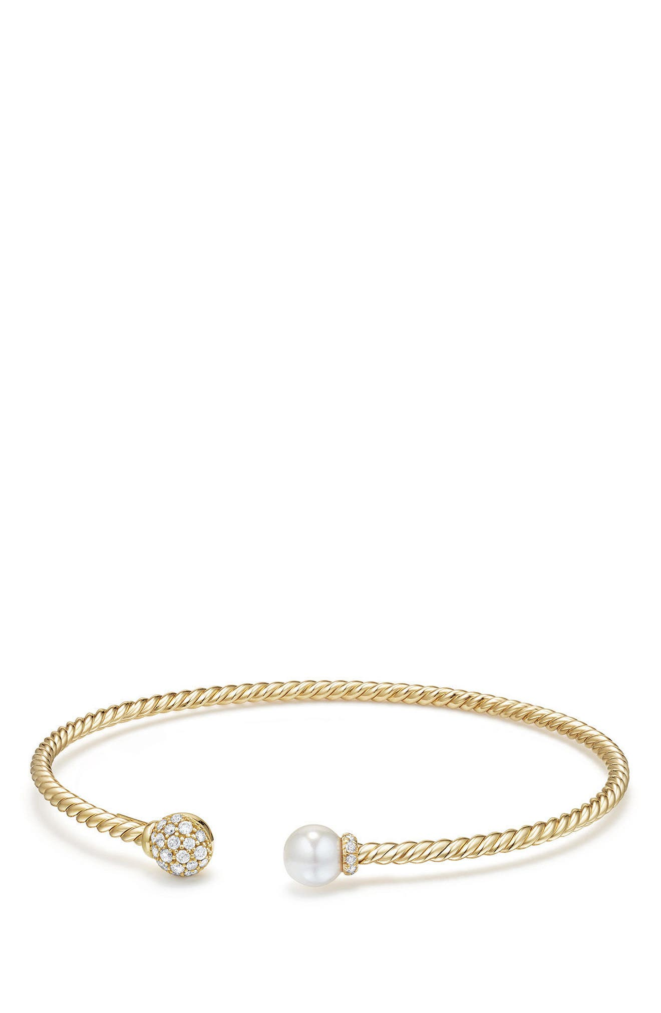 David Yurman Solari Bead & Pearl Bracelet with Diamonds in 18K Gold