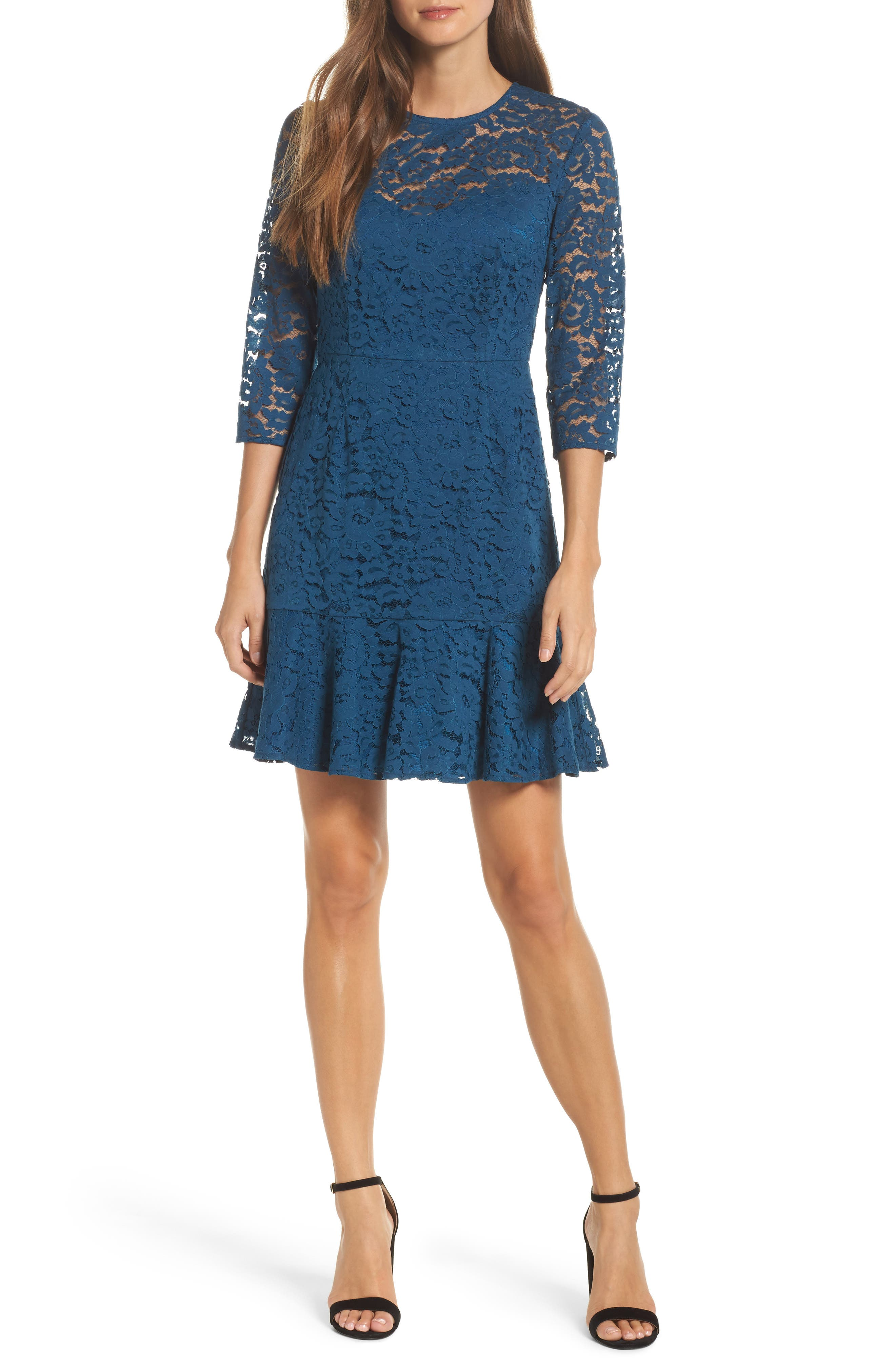 trina Trina Turk Stanley Lace Fit & Flare Dress