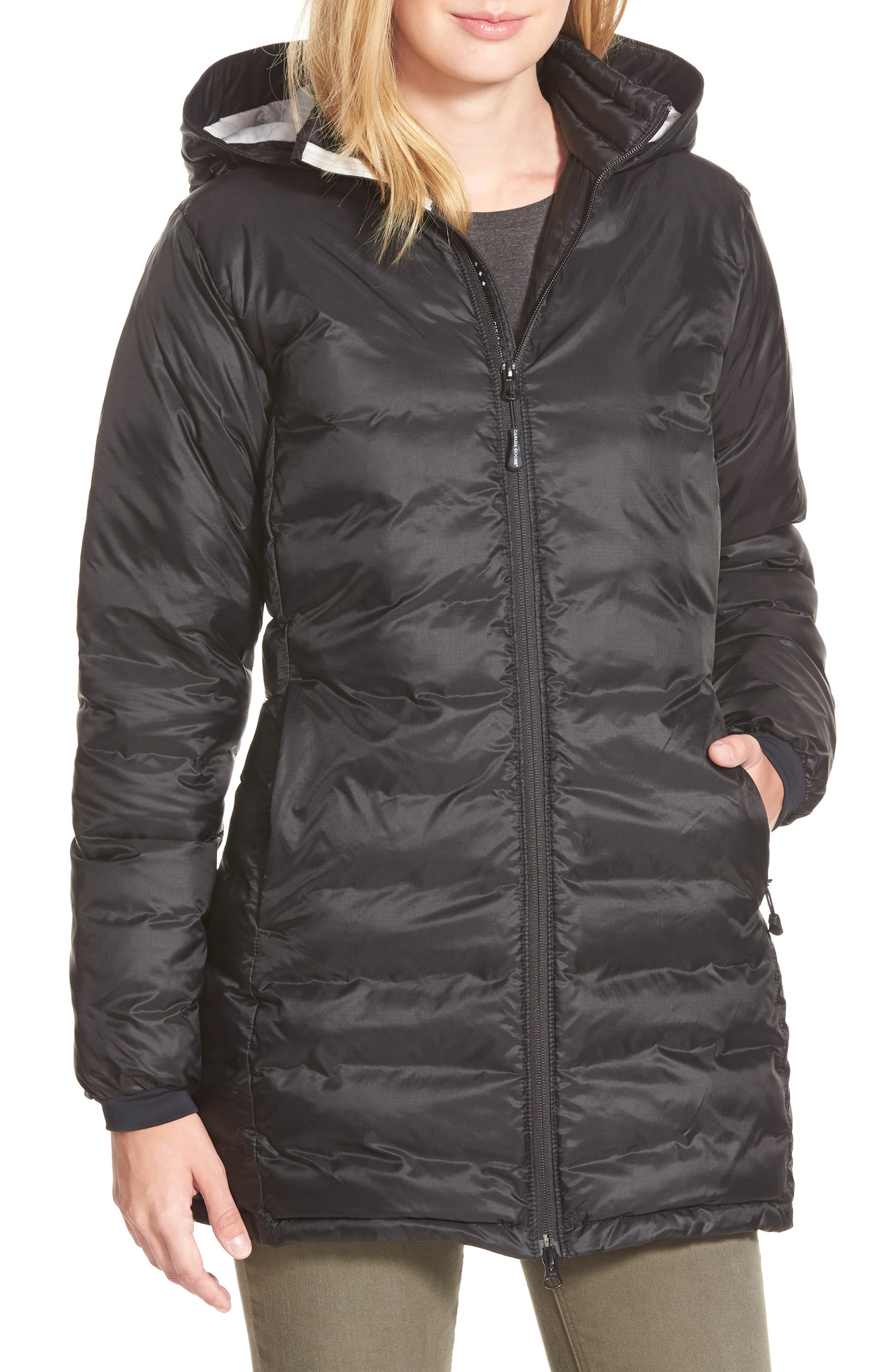'Camp' Slim Fit Hooded Packable Down Jacket,                             Main thumbnail 1, color,                             Black