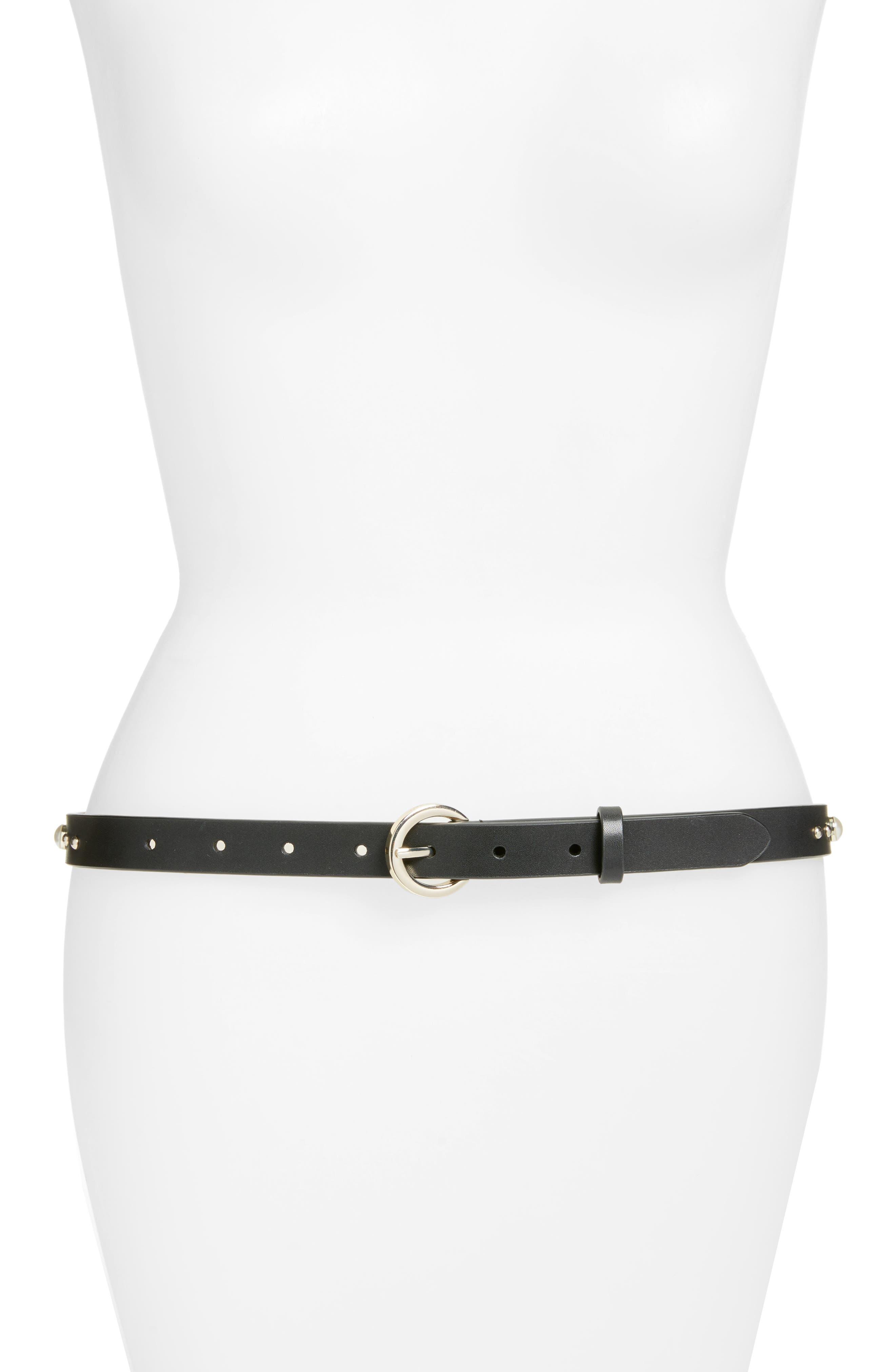 Alternate Image 1 Selected - Rebecca Minkoff Imitation Pearl & Stud Smooth Leather Belt
