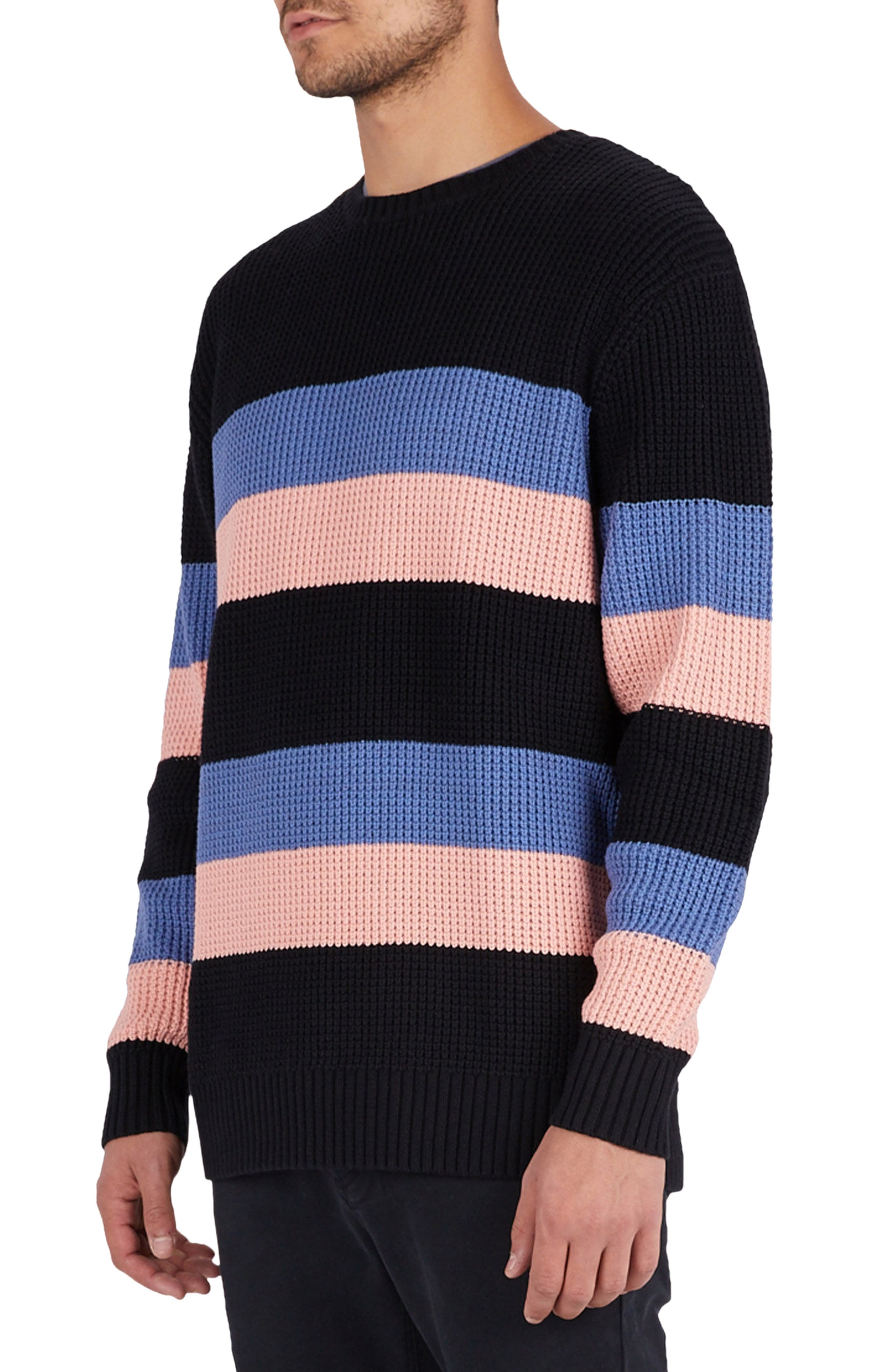 Rugby Stripe Sweater,                             Alternate thumbnail 3, color,                             Black/ Pink