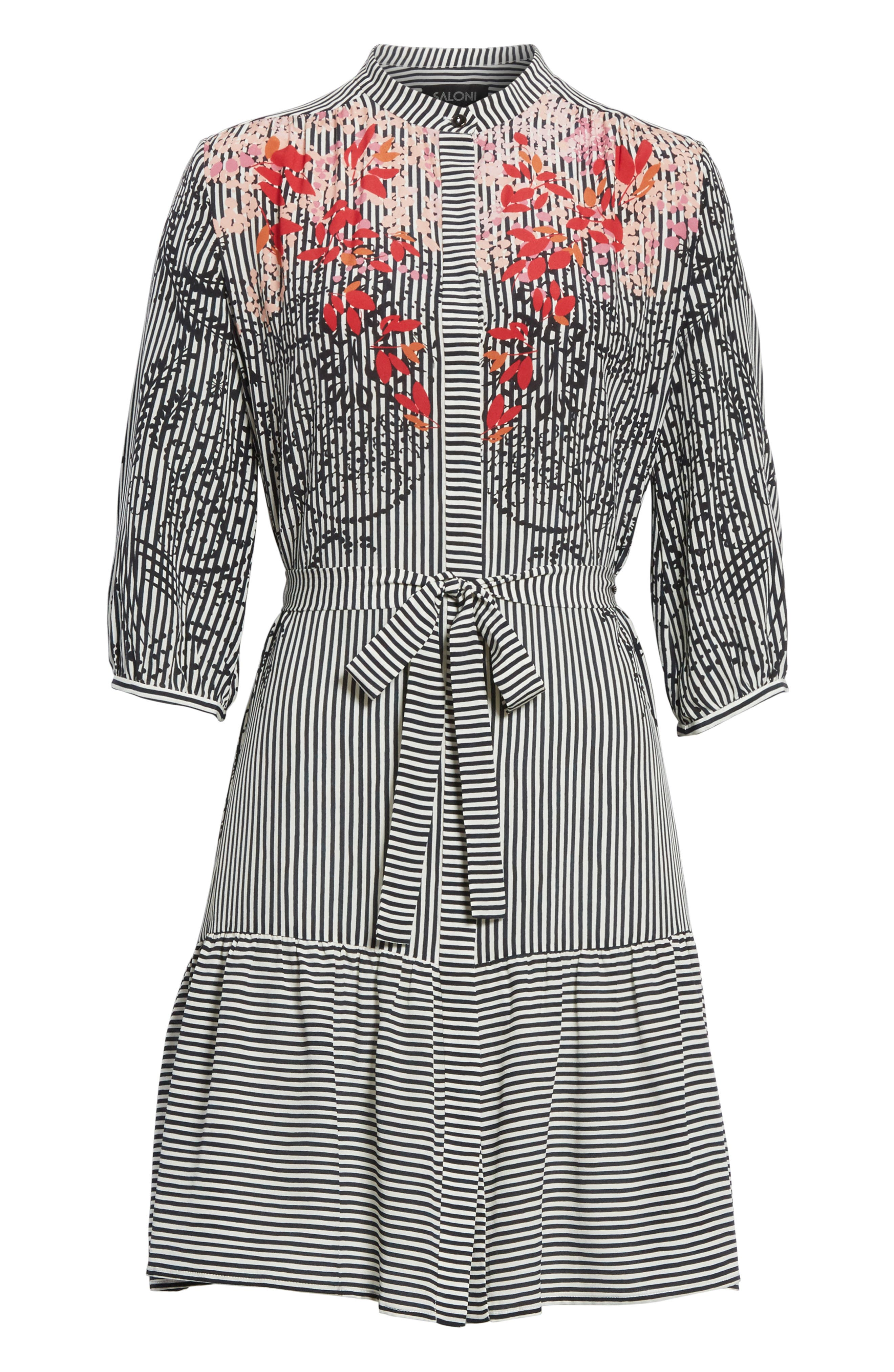 Alternate Image 6  - SALONI Tyra Print Silk Fit & Flare Dress