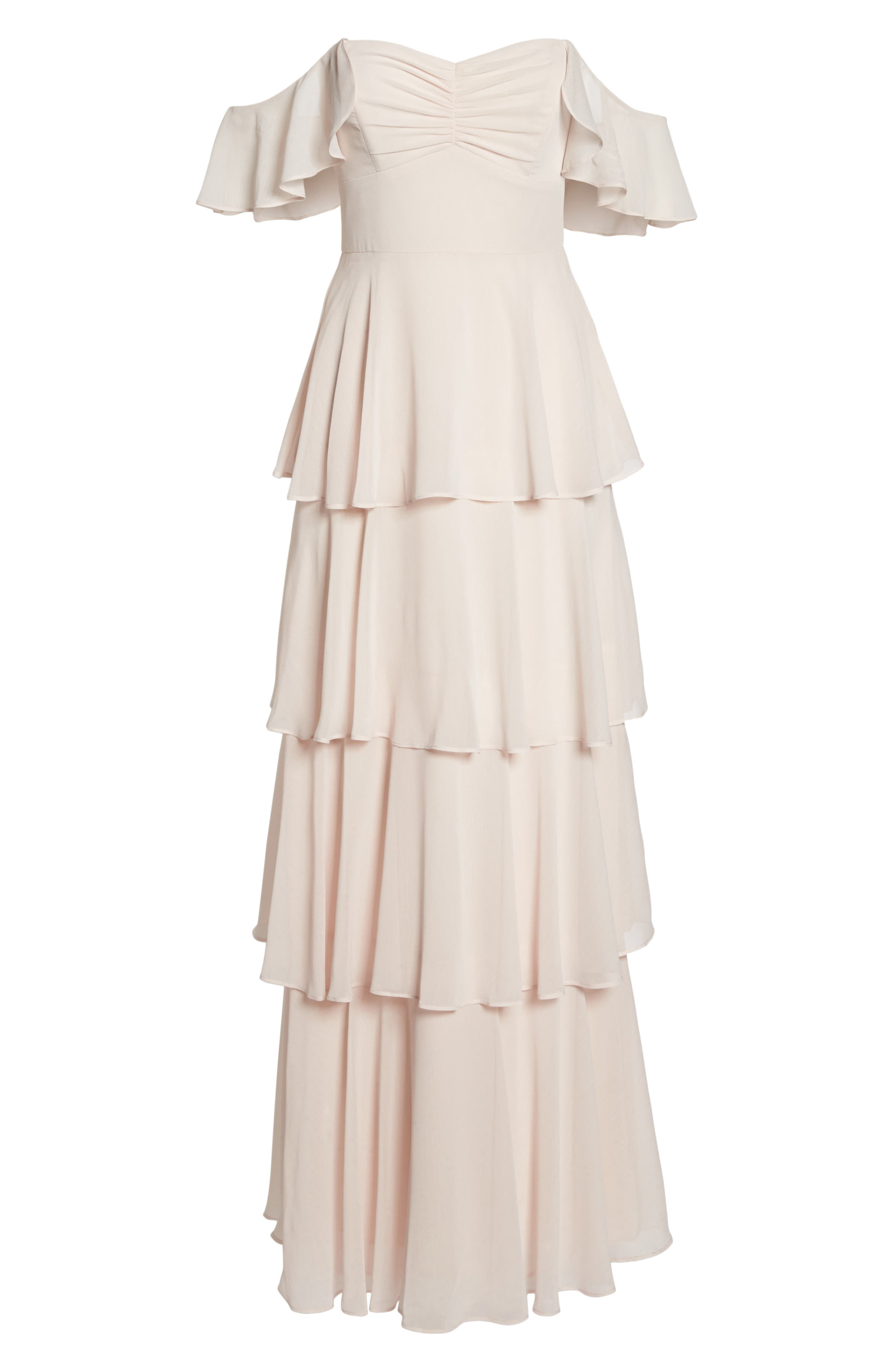 Abby Off the Shoulder Tiered Dress,                             Alternate thumbnail 6, color,                             Powder Blush