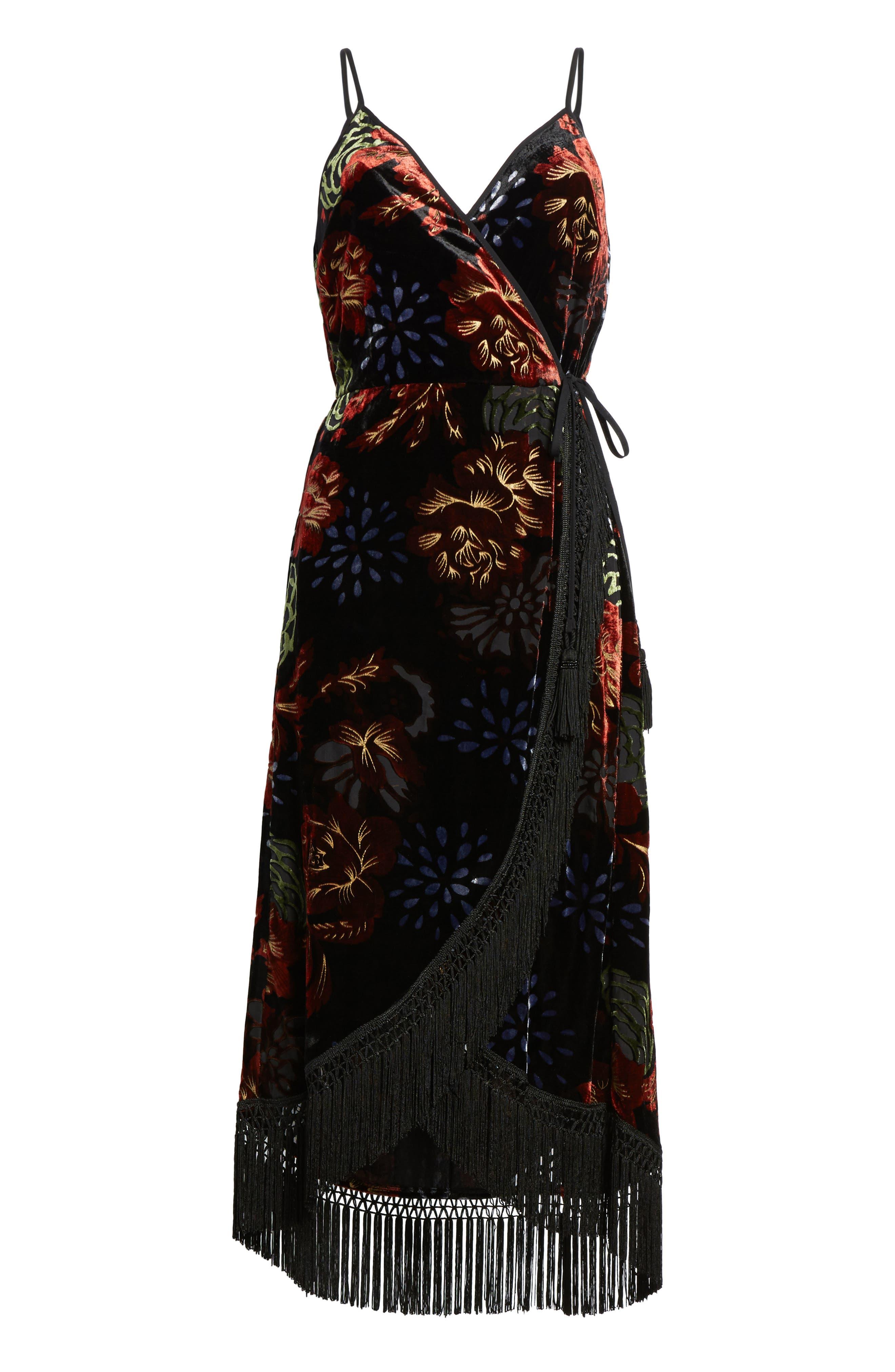 Romantic Burnout Wrap Dress,                             Alternate thumbnail 6, color,                             Black Brick