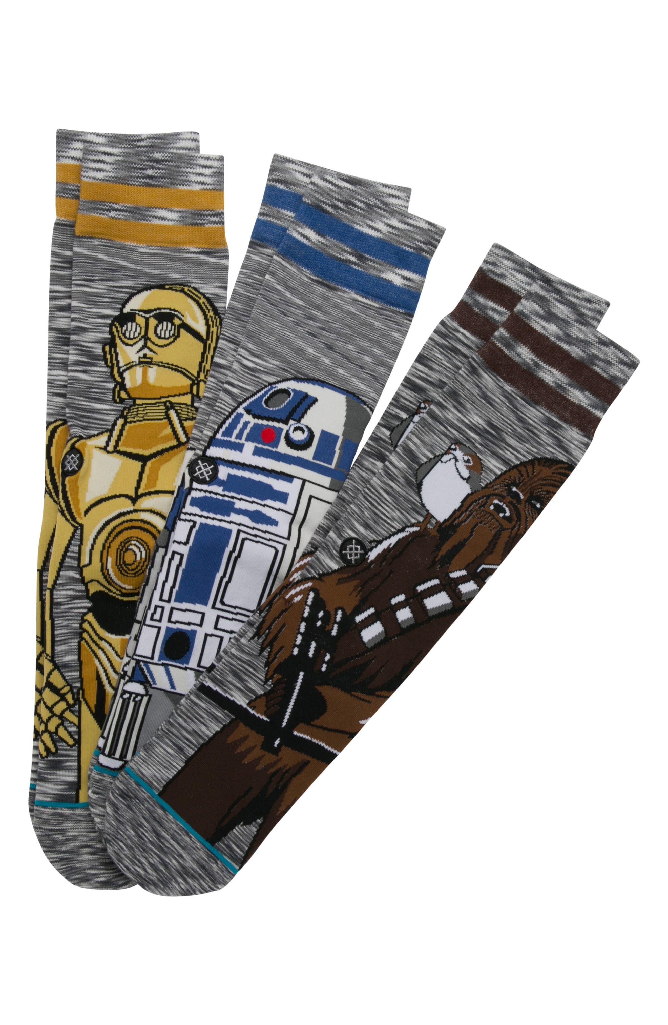 Star Wars<sup>™</sup> - Sidekick 3-Pack Socks,                             Alternate thumbnail 3, color,                             Grey Multi
