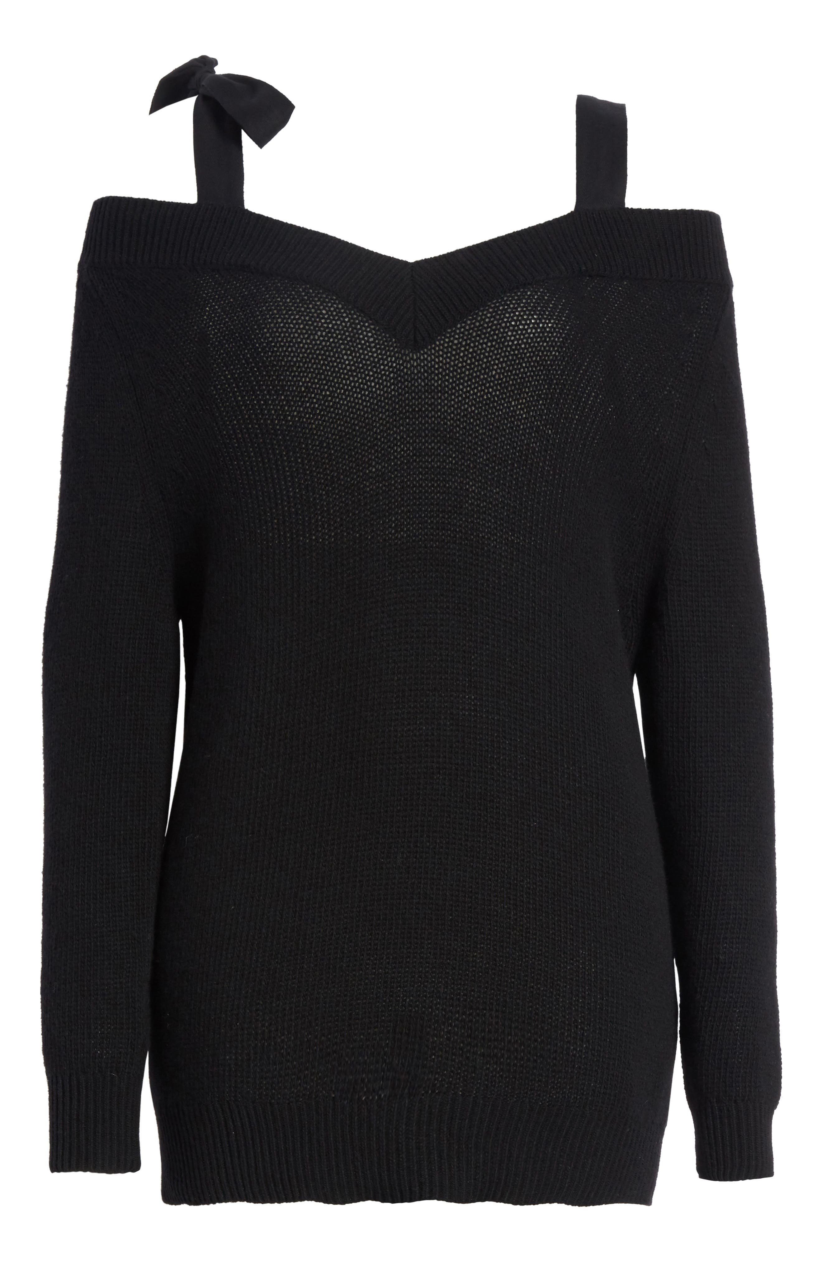 Grosgrain Bow Off the Shoulder Wool Sweater,                             Alternate thumbnail 6, color,                             Black