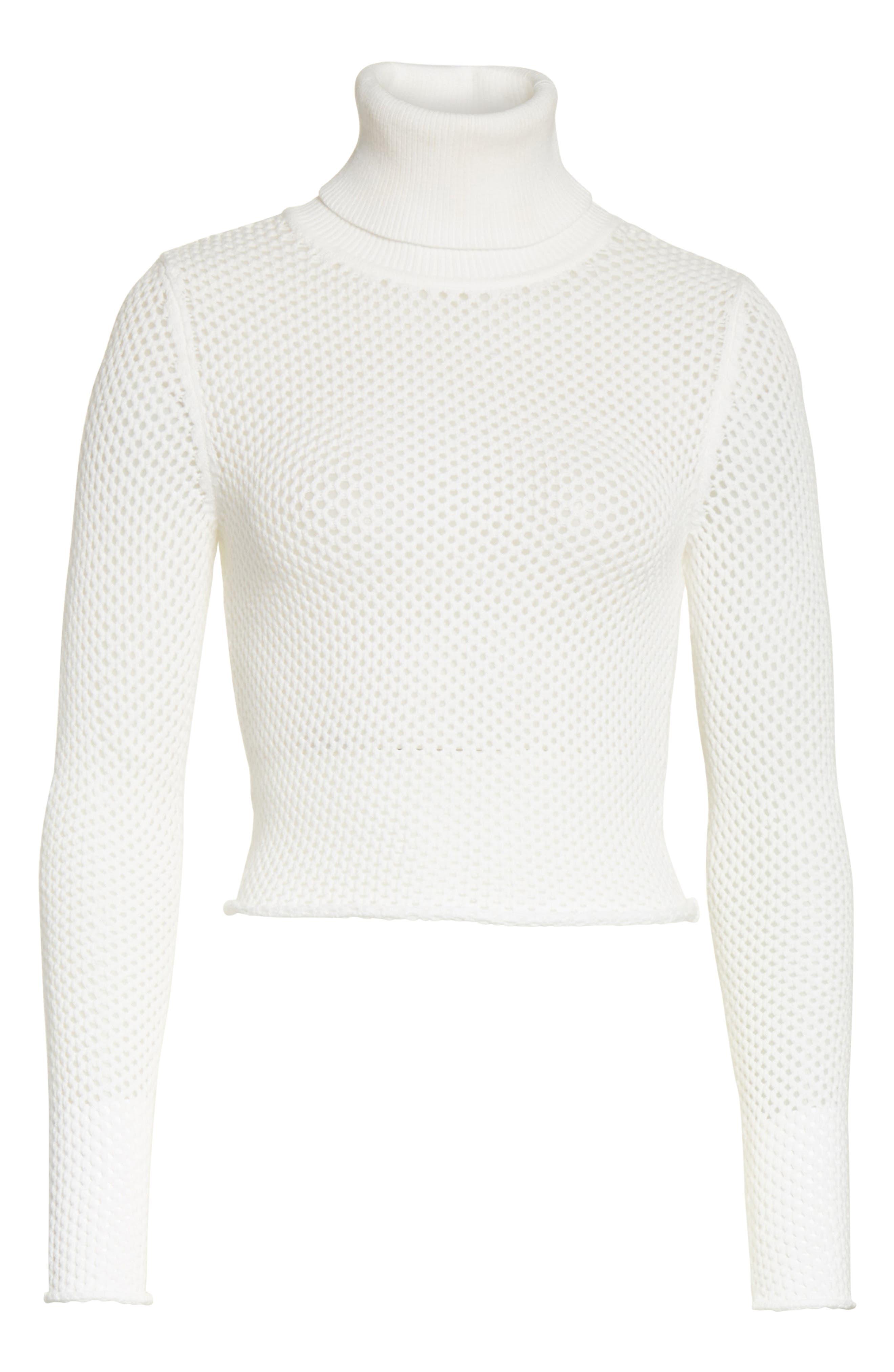 Jones Fishnet Sweater,                             Alternate thumbnail 5, color,                             White