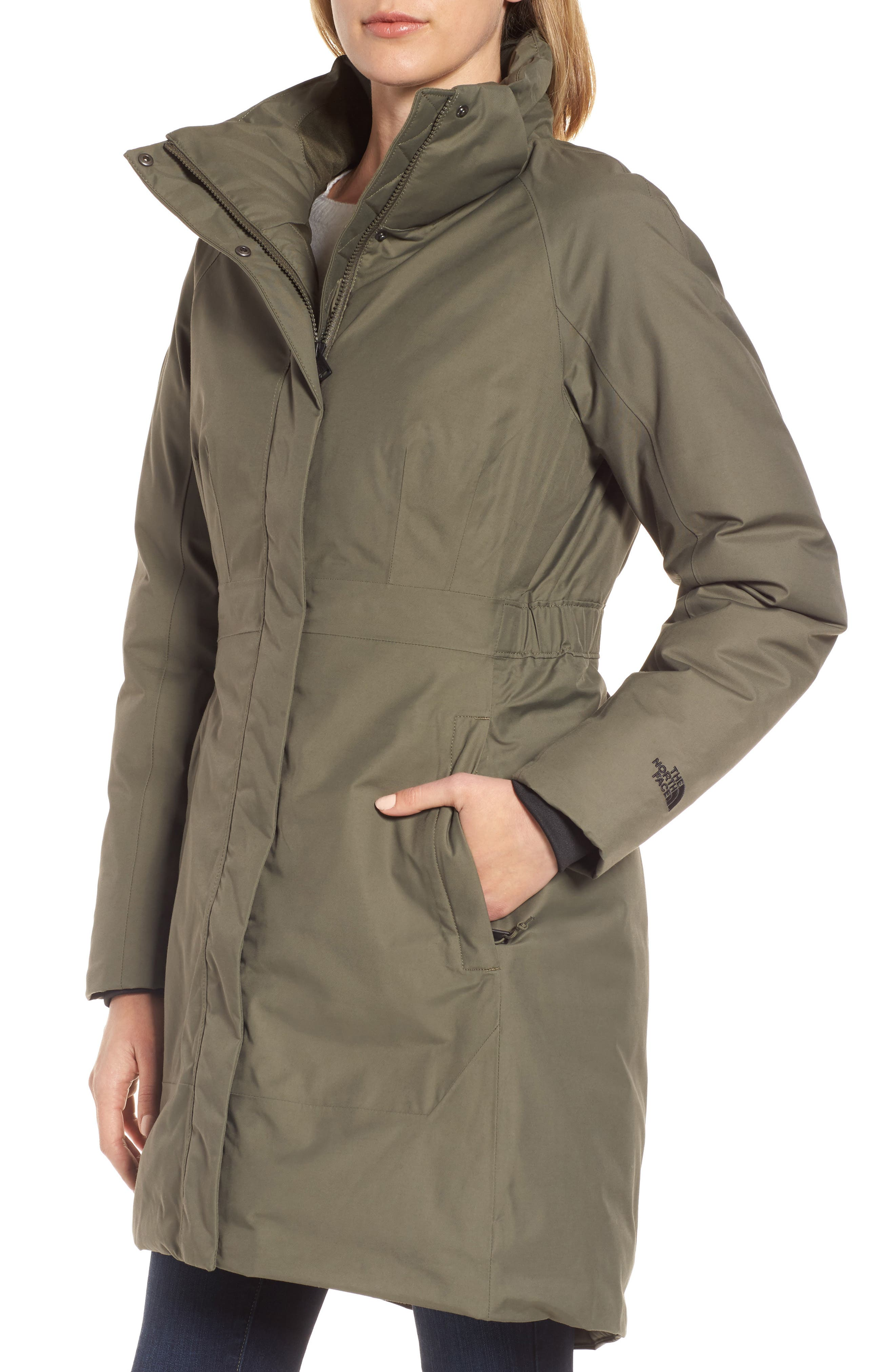 Arctic II Waterproof 550-Fill-Power Down Parka with Faux Fur Trim,                             Alternate thumbnail 4, color,                             New Taupe Green