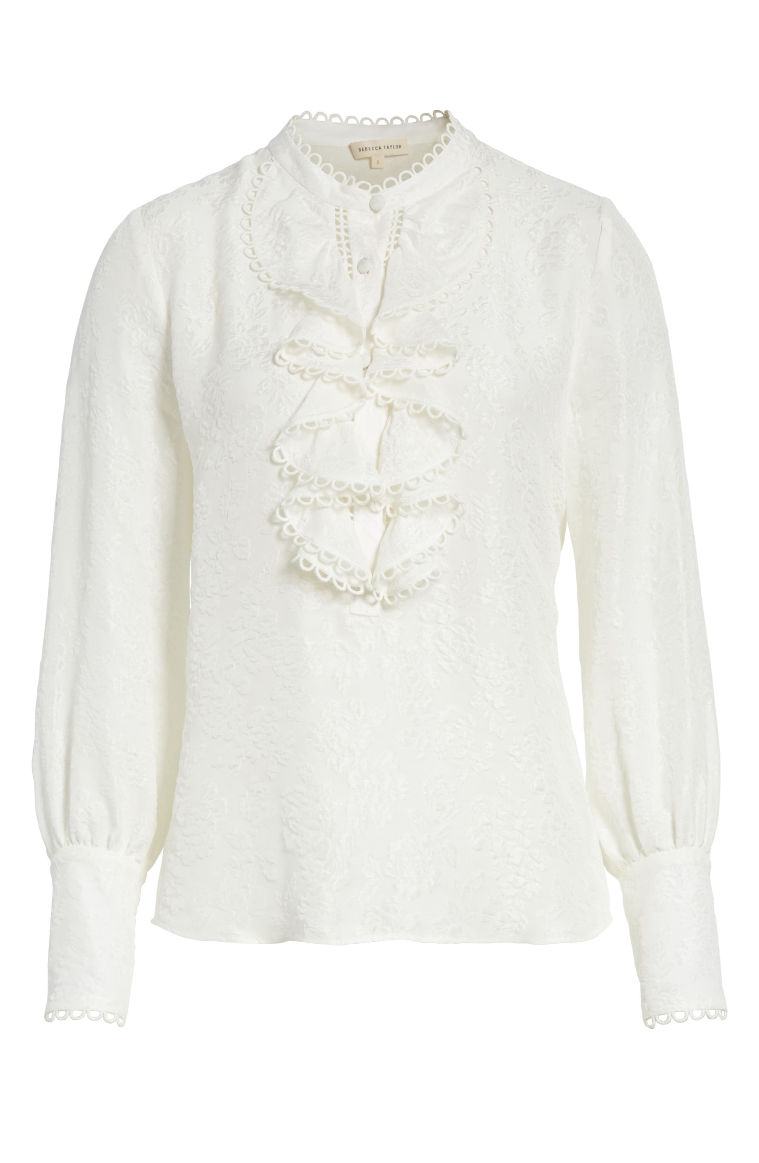Ruffled Floral Cloqué Top,                             Alternate thumbnail 6, color,                             Snow