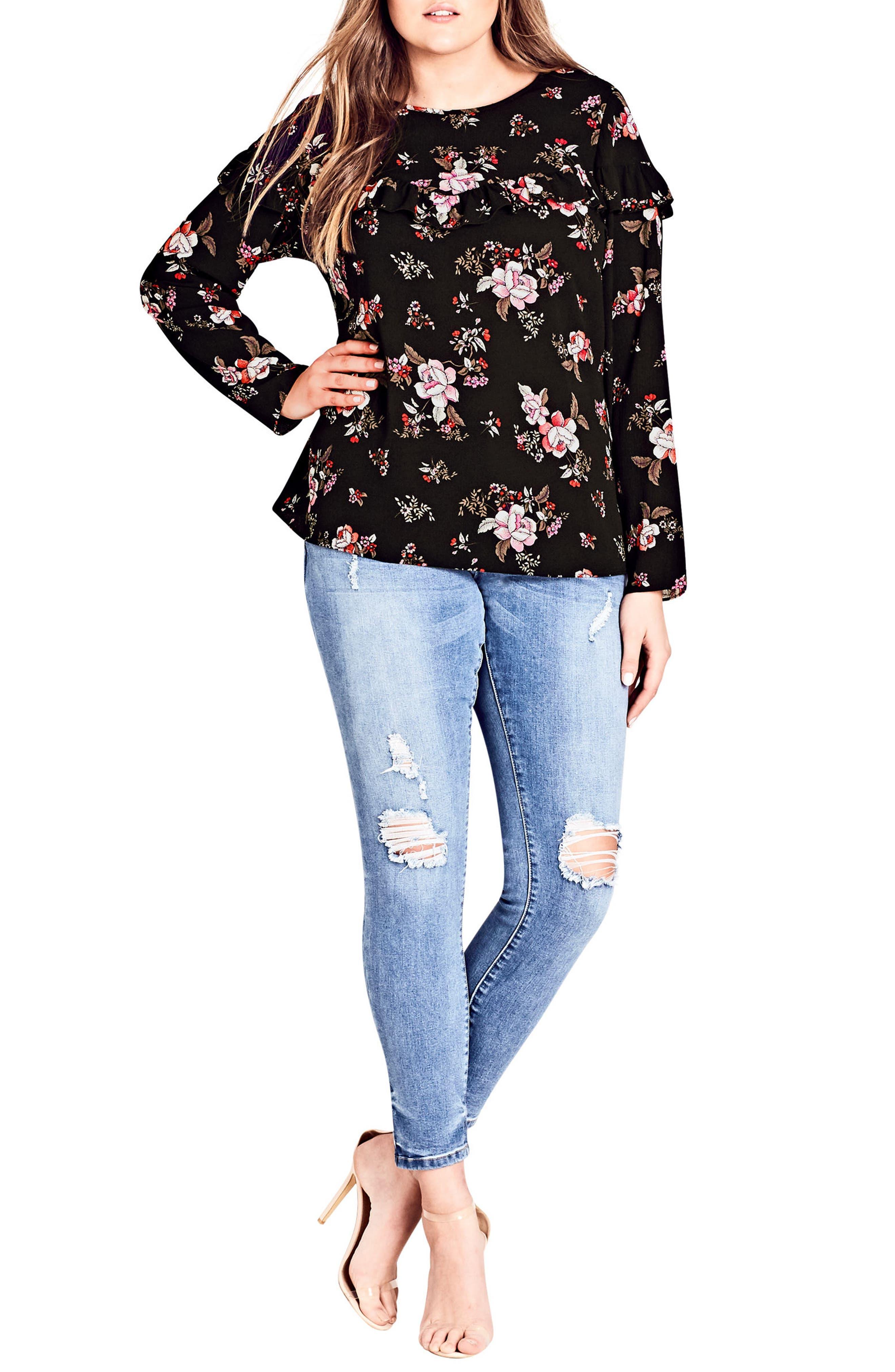 Main Image - City Chic Floral Dream Top (Plus Size)