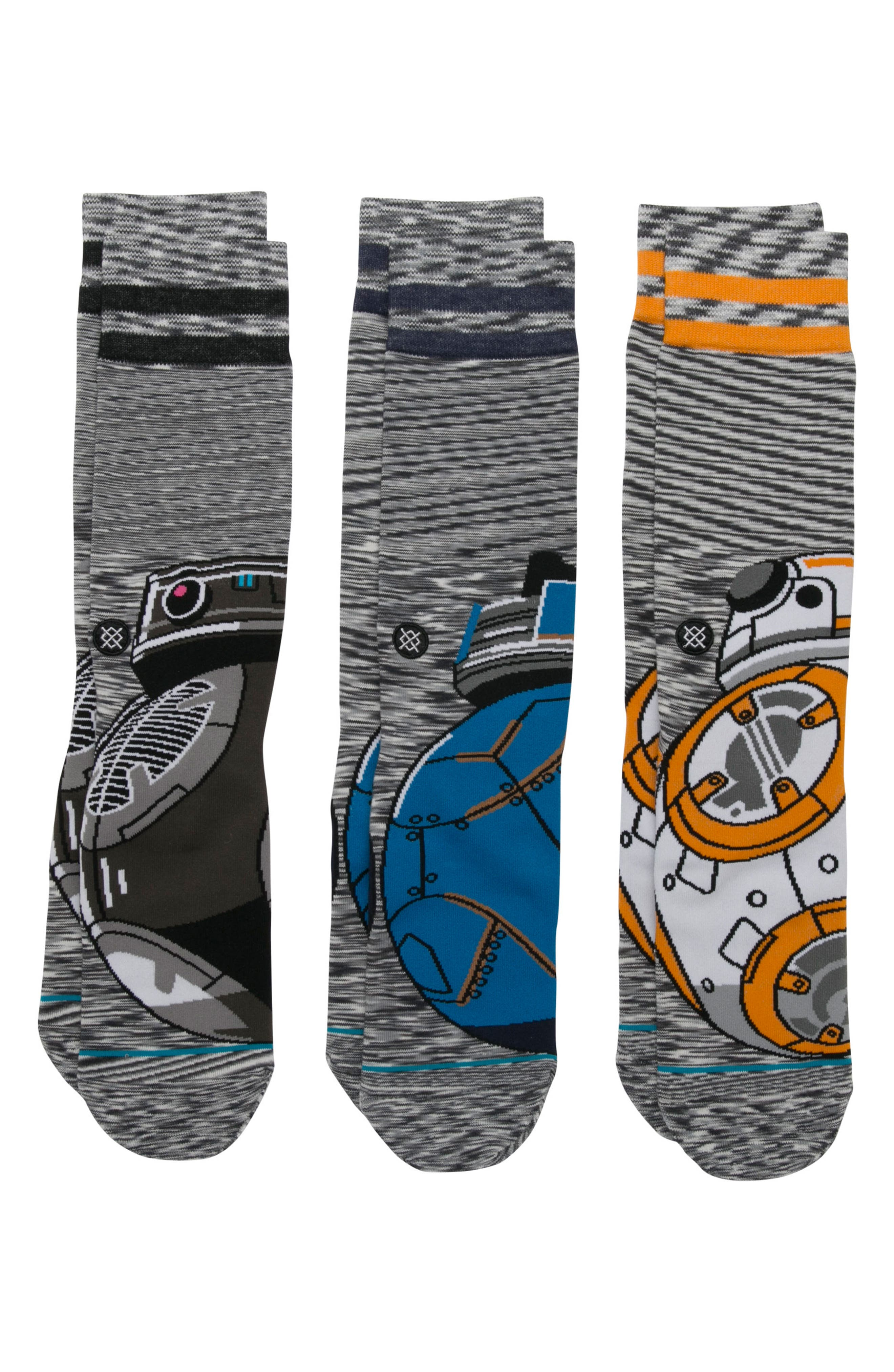 Star Wars<sup>™</sup> Droid 3-Pack Socks,                         Main,                         color, Grey Multi