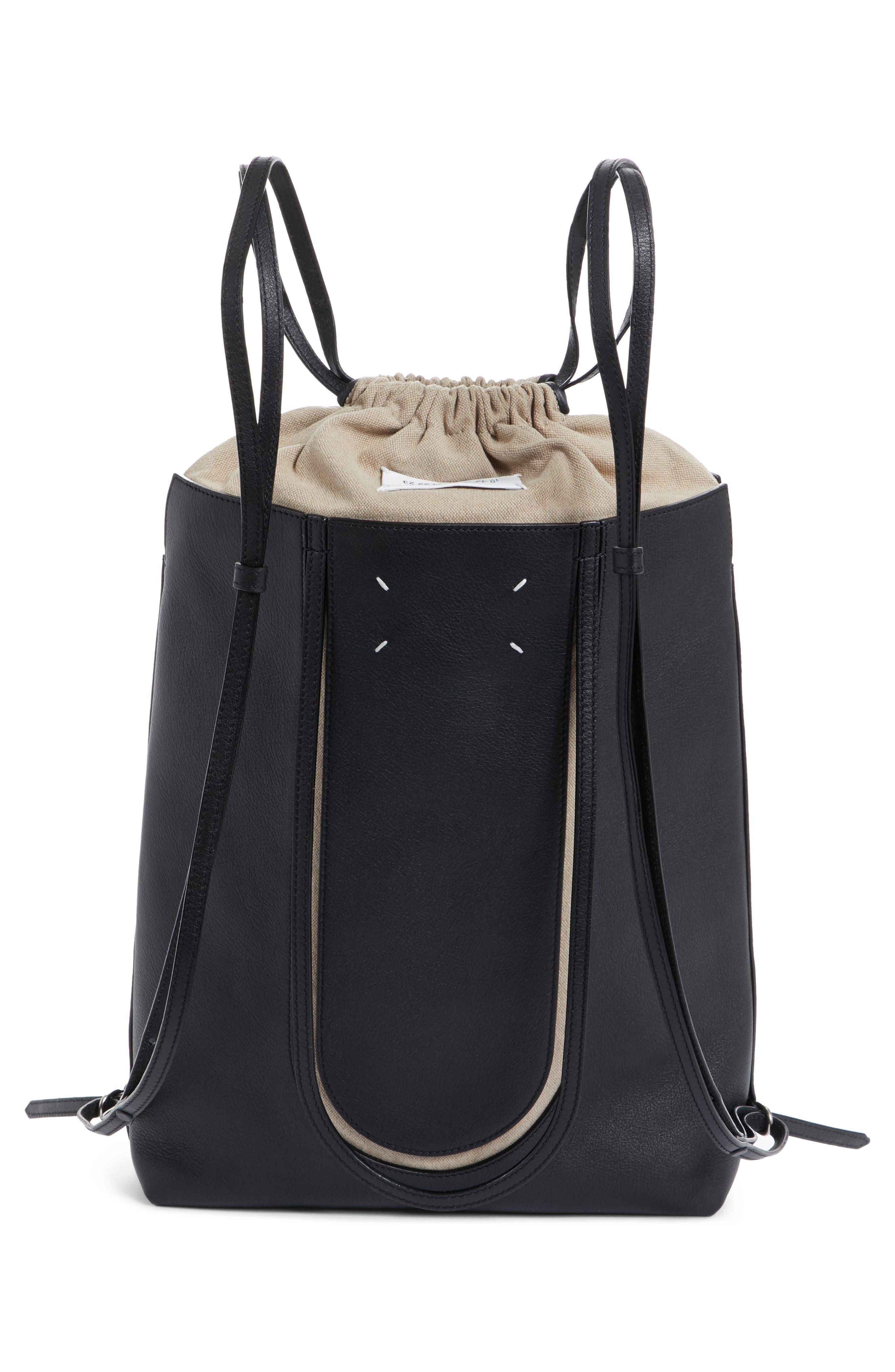 Calfskin Leather Backpack,                             Alternate thumbnail 3, color,                             Black