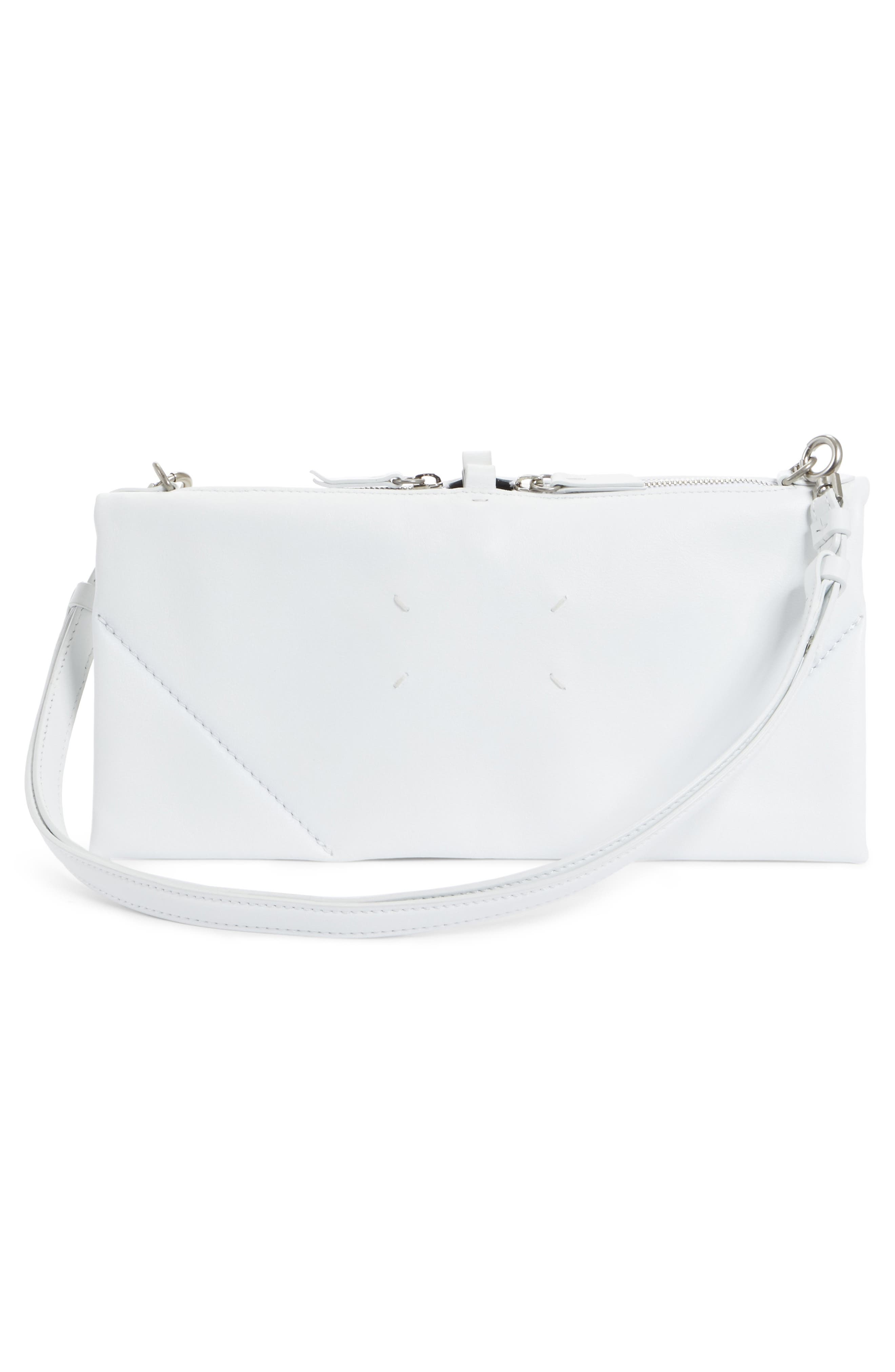 Mini Leather Magic Collapsible Bag,                             Alternate thumbnail 3, color,                             White
