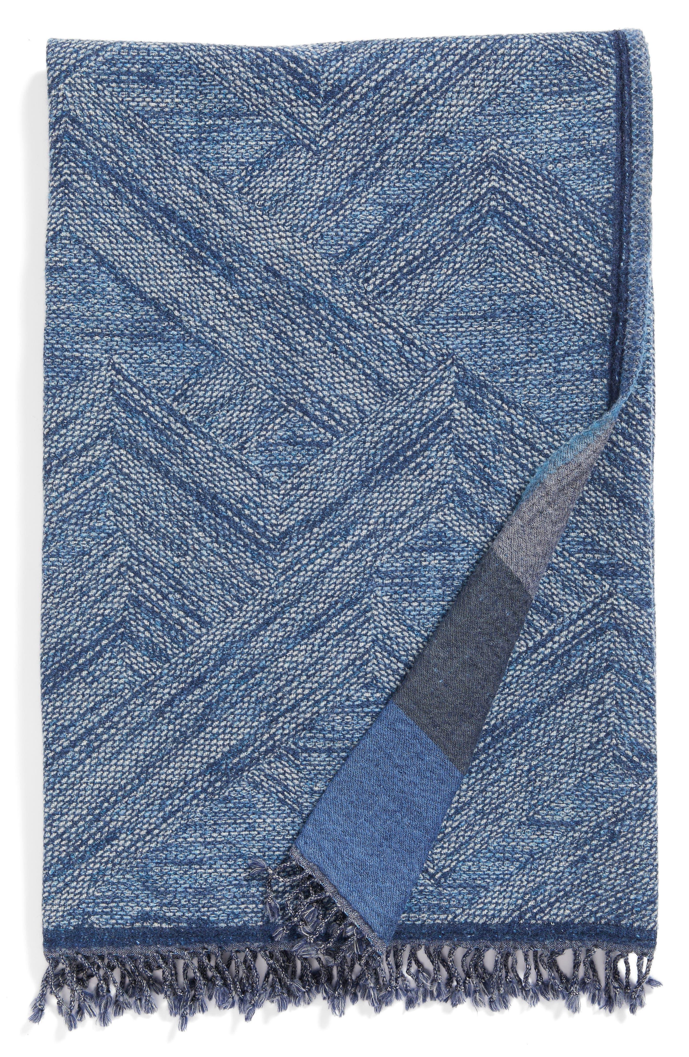 Main Image - Modern Staples Chevron Double Face Merino Wool Throw