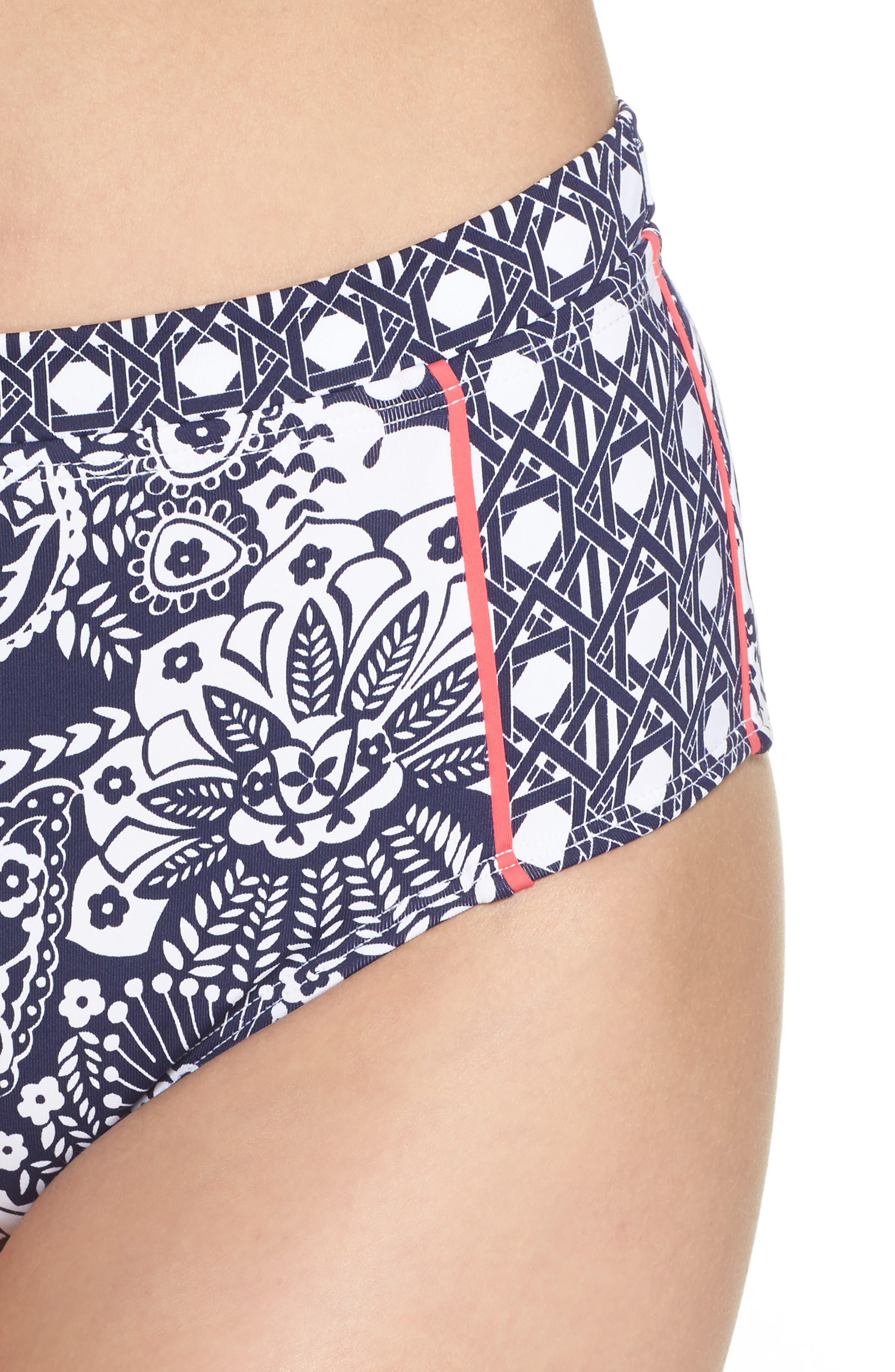 Paisley Paradise High Waist Bikini Bottoms,                             Alternate thumbnail 4, color,                             Mare Navy