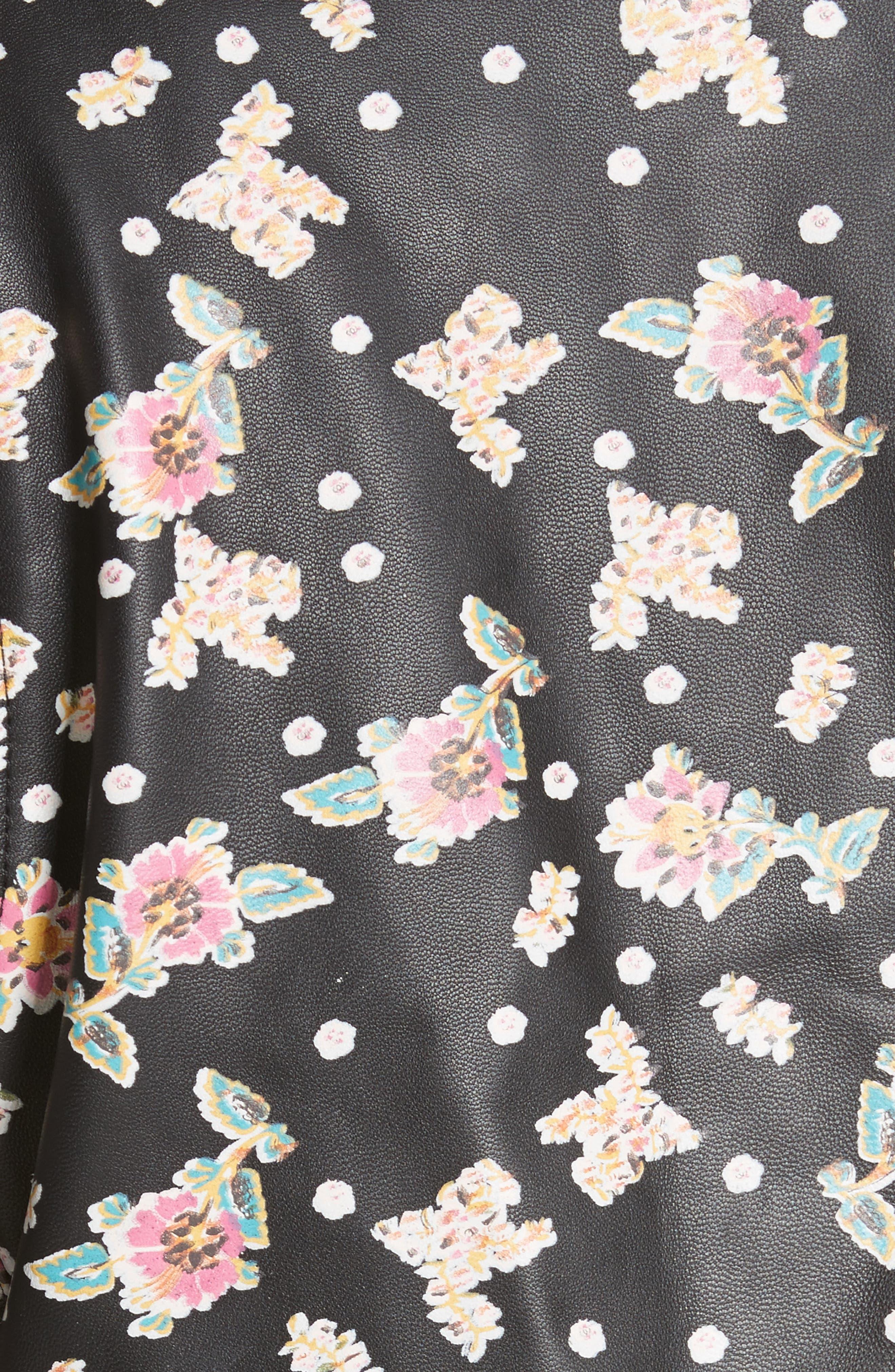 Wes Floral Leather Moto Jacket,                             Alternate thumbnail 5, color,                             Black Multi
