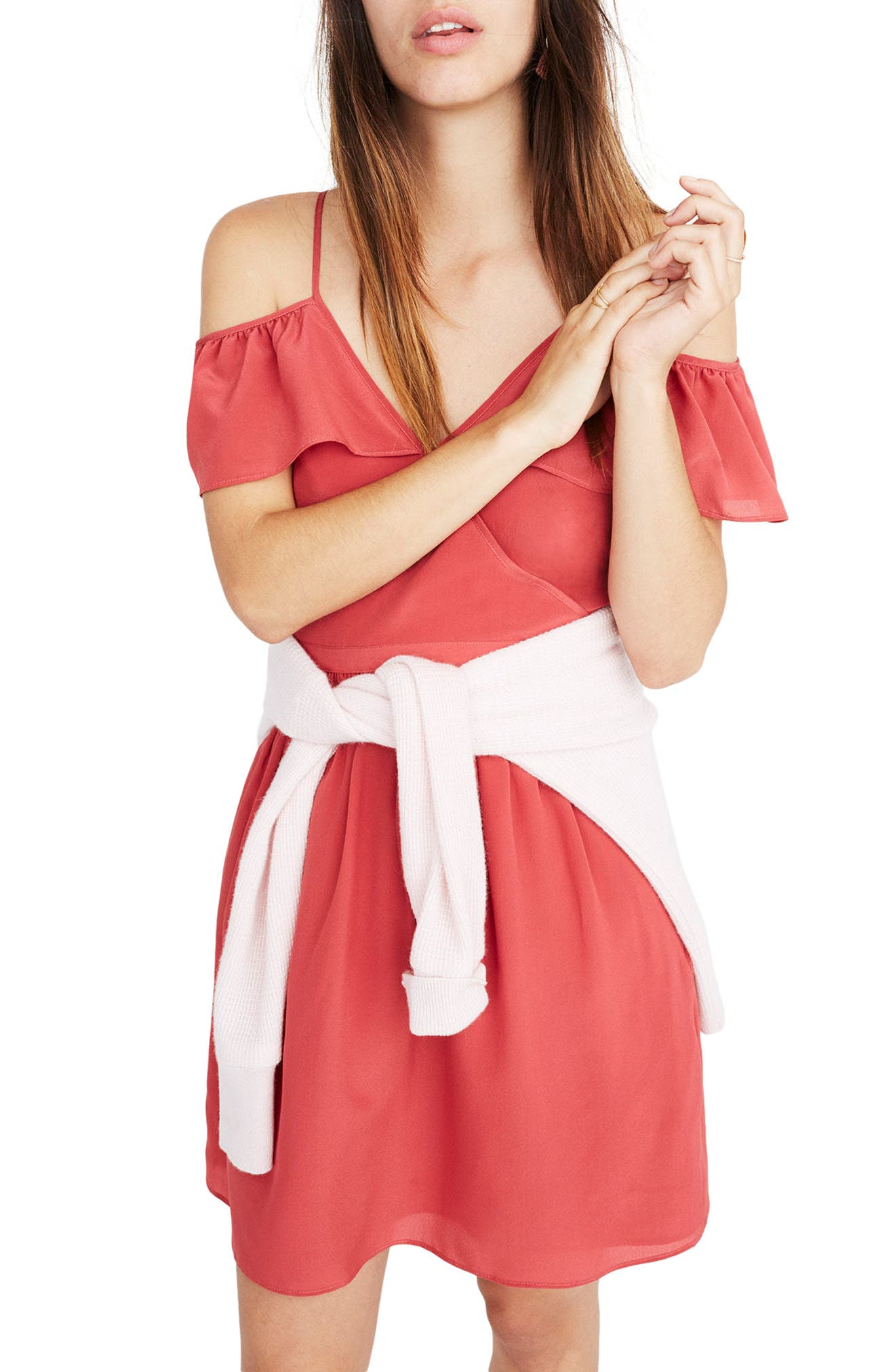 Ruffle Cold Shoulder Silk Dress,                         Main,                         color, Warm Berry