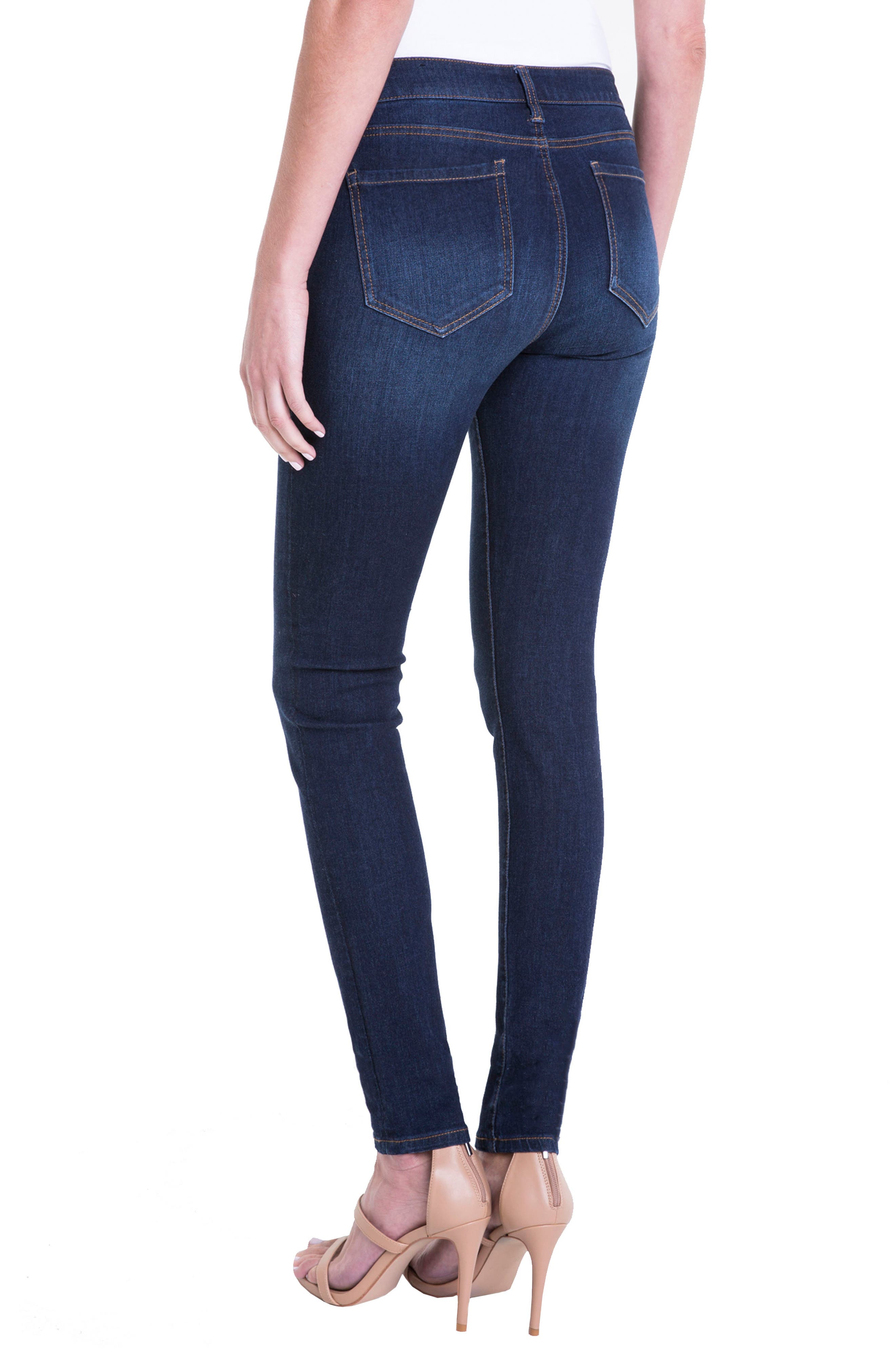 Abby Stretch Curvy Fit Skinny Jeans,                             Alternate thumbnail 2, color,                             Dark Blue