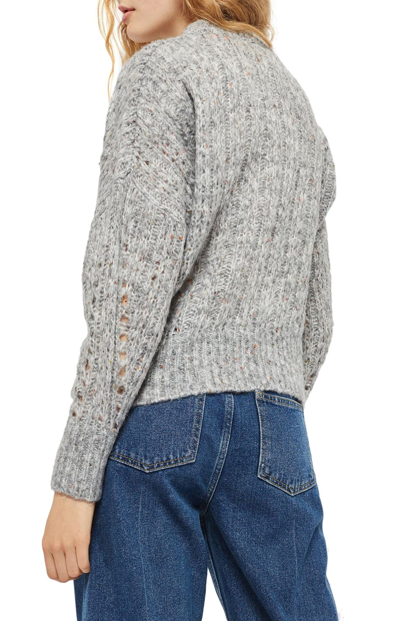 Soft Nep Sweater,                             Alternate thumbnail 3, color,                             Grey Marl Multi