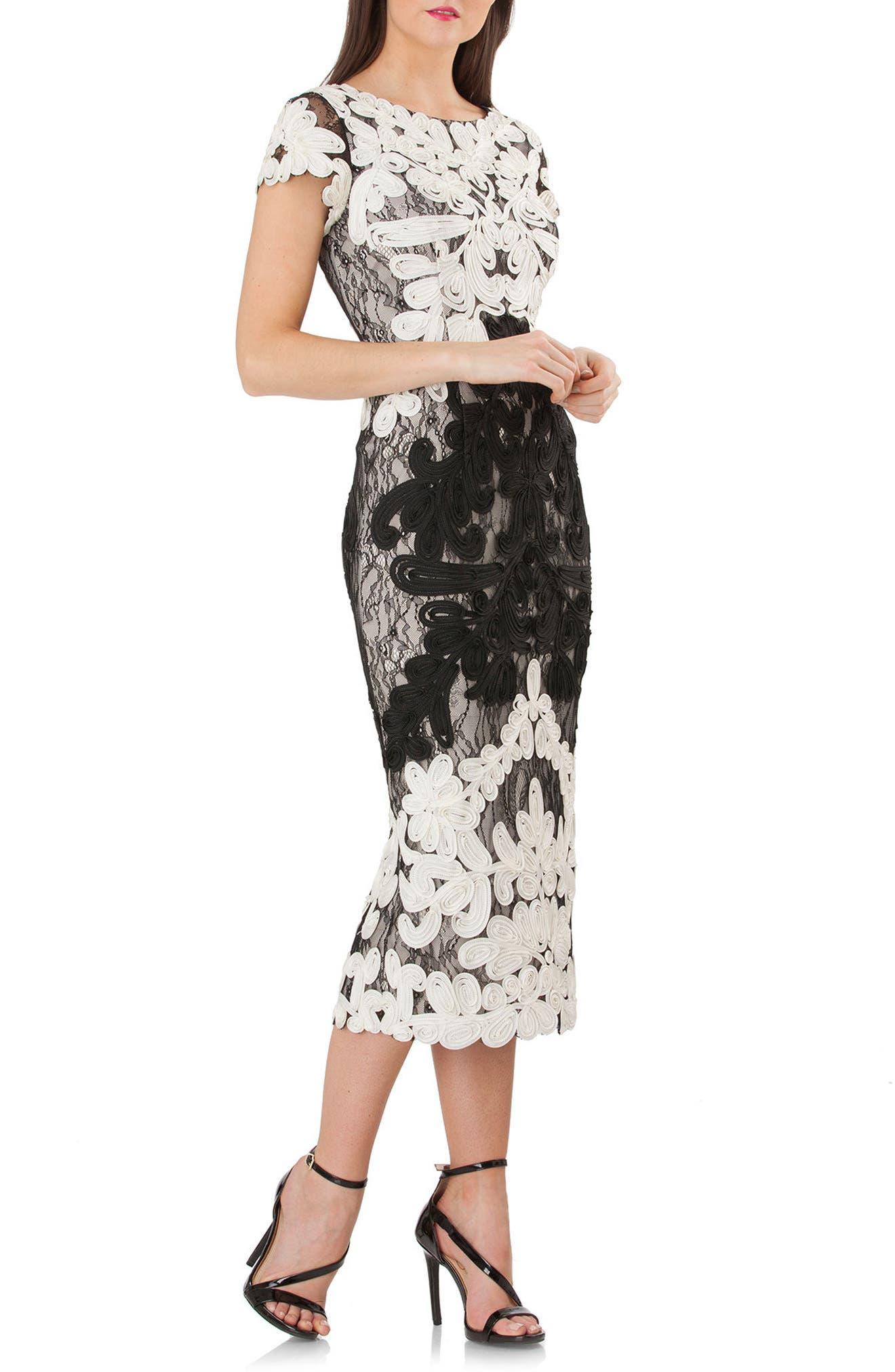 Alternate Image 1 Selected - JS Collections Soutache Lace Midi Dress