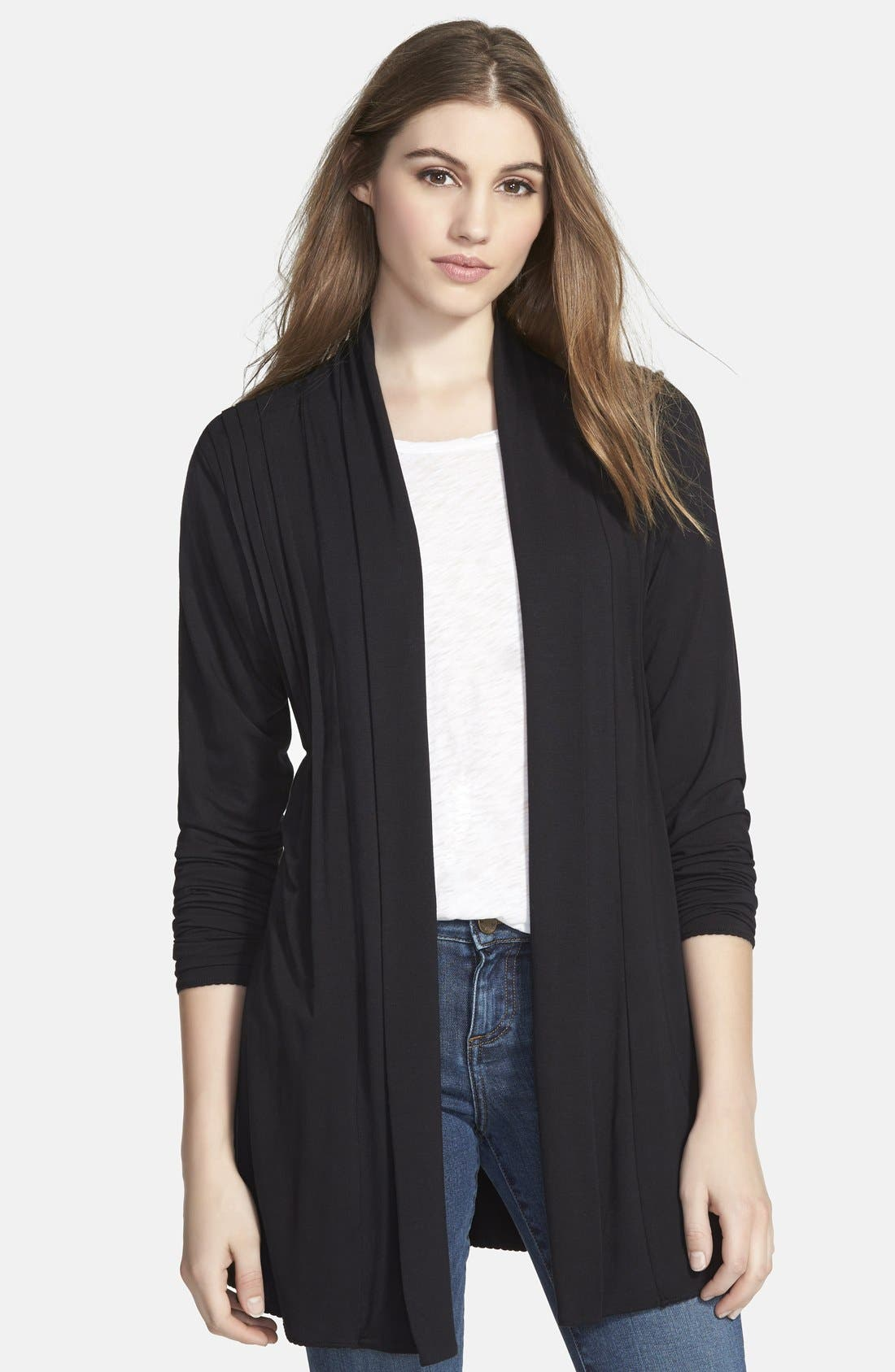 Alternate Image 6  - Dantelle Open Pleat Front Cardigan (Regular & Petite)