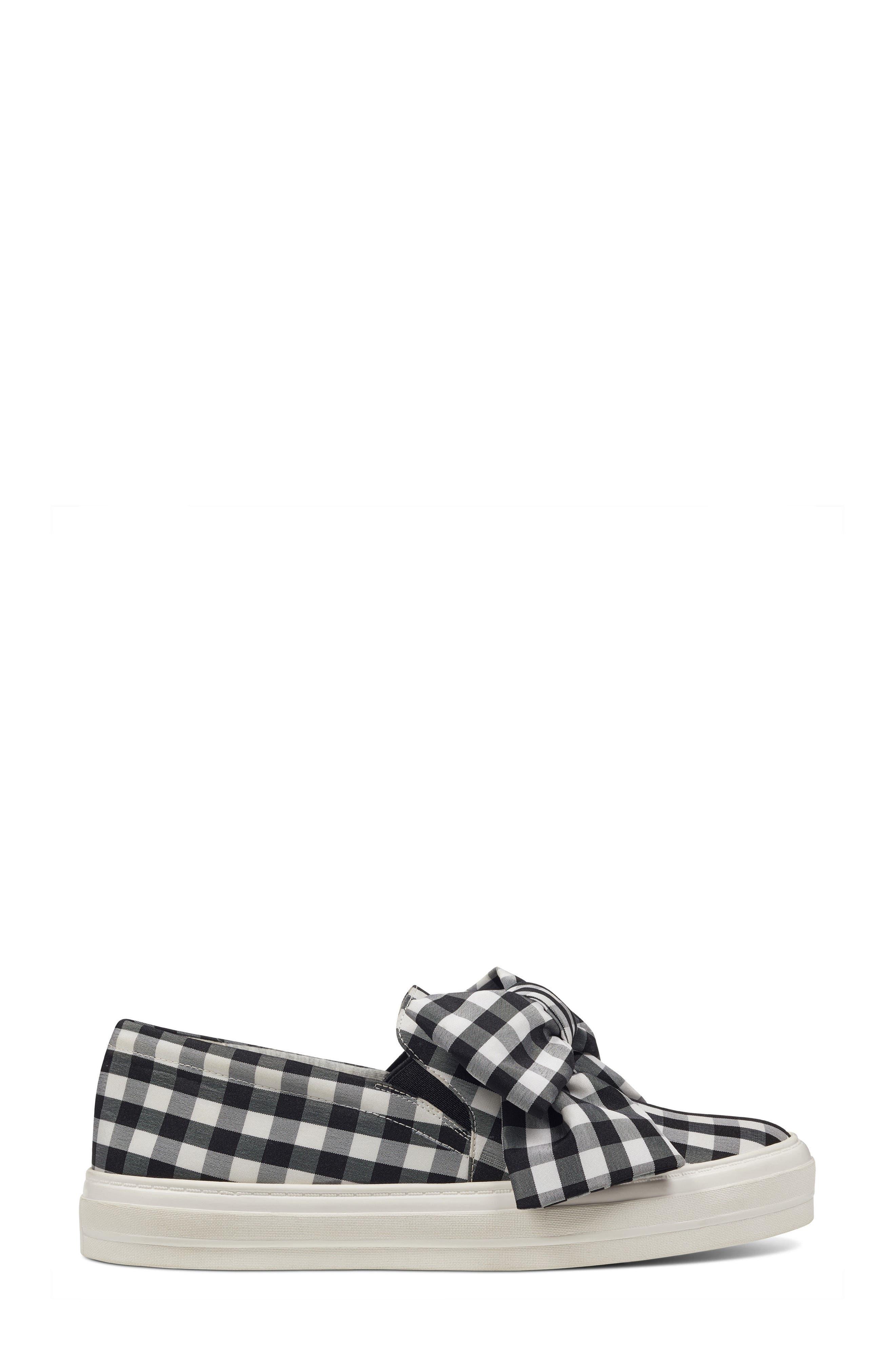 Onosha Bow Slip-On Sneaker,                             Alternate thumbnail 3, color,                             Black/ White Fabric
