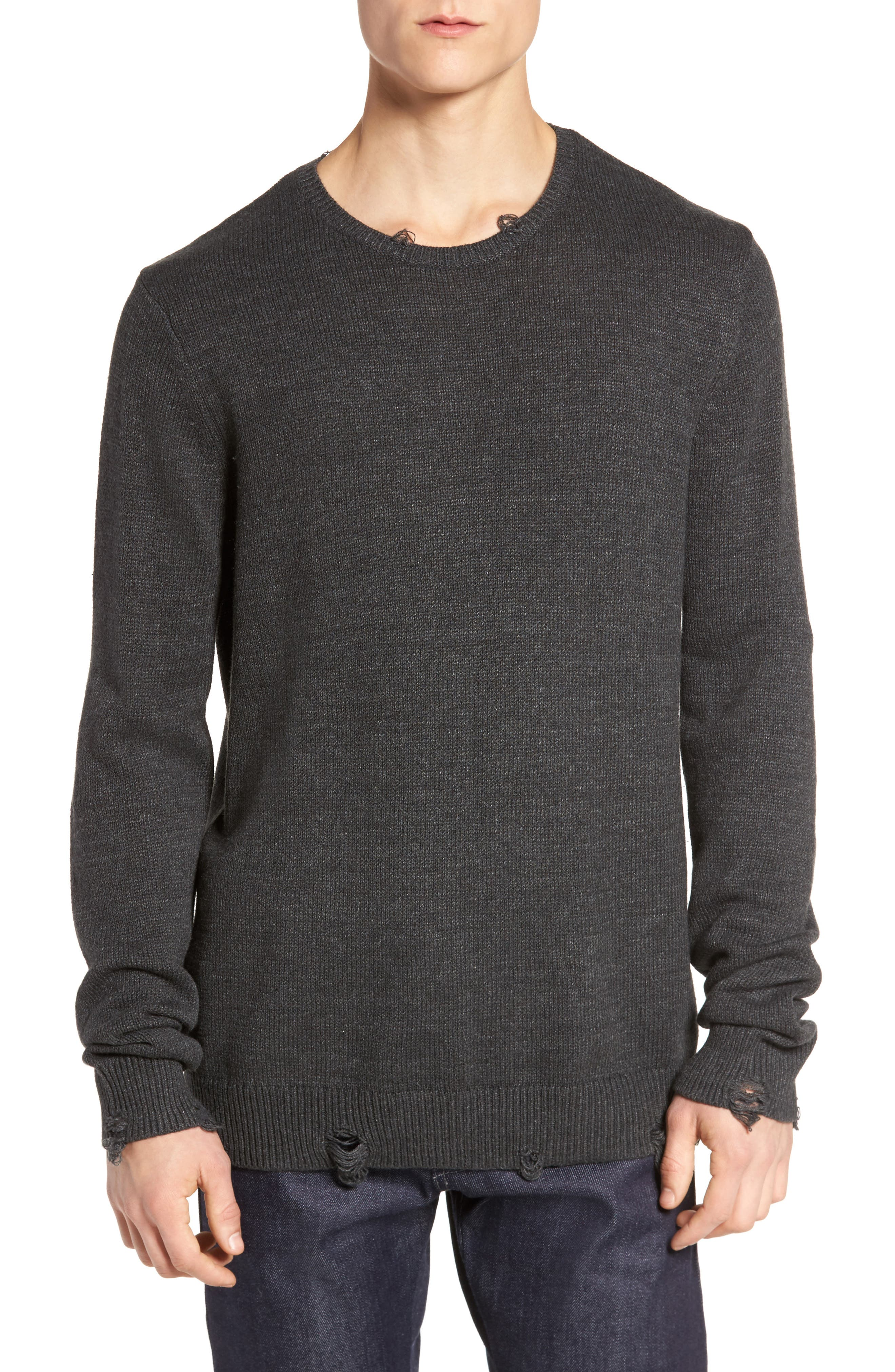 Destroyed Crewneck Sweater,                         Main,                         color, Grey Charcoal Heather